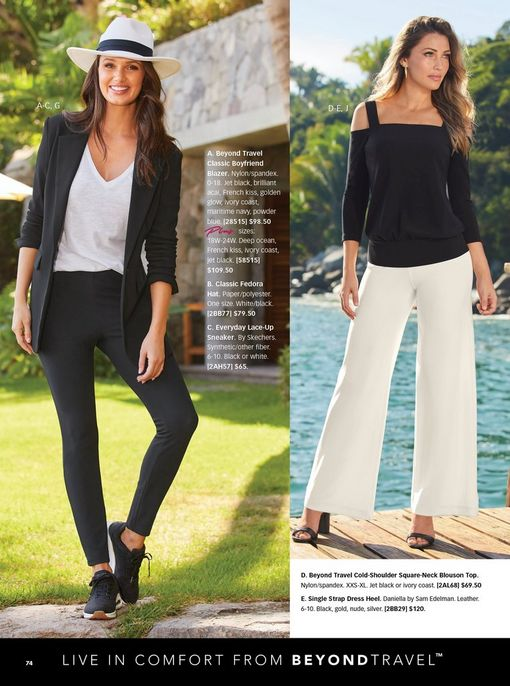 left model wearing a black blazer, white v-neck tank top, black leggings, black sneakers, and a white floppy hat. right model wearing a black cold-shoulder long-sleeve top, off-white palazzo pants, and single strap heels in black.