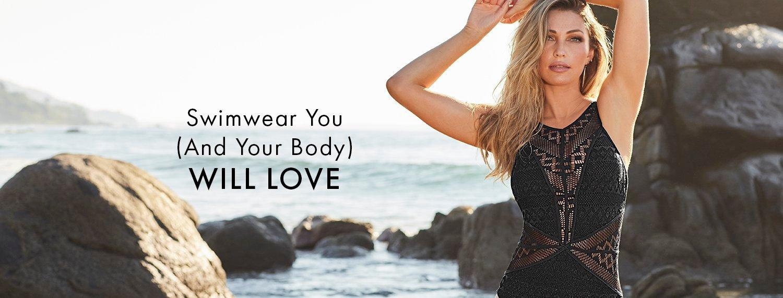 model wearing a black crochet one-piece swimsuit.