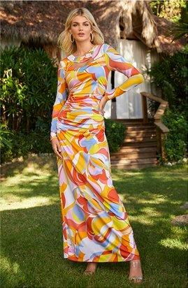 model wearing a multicolored printed long-sleeve maxi dress.