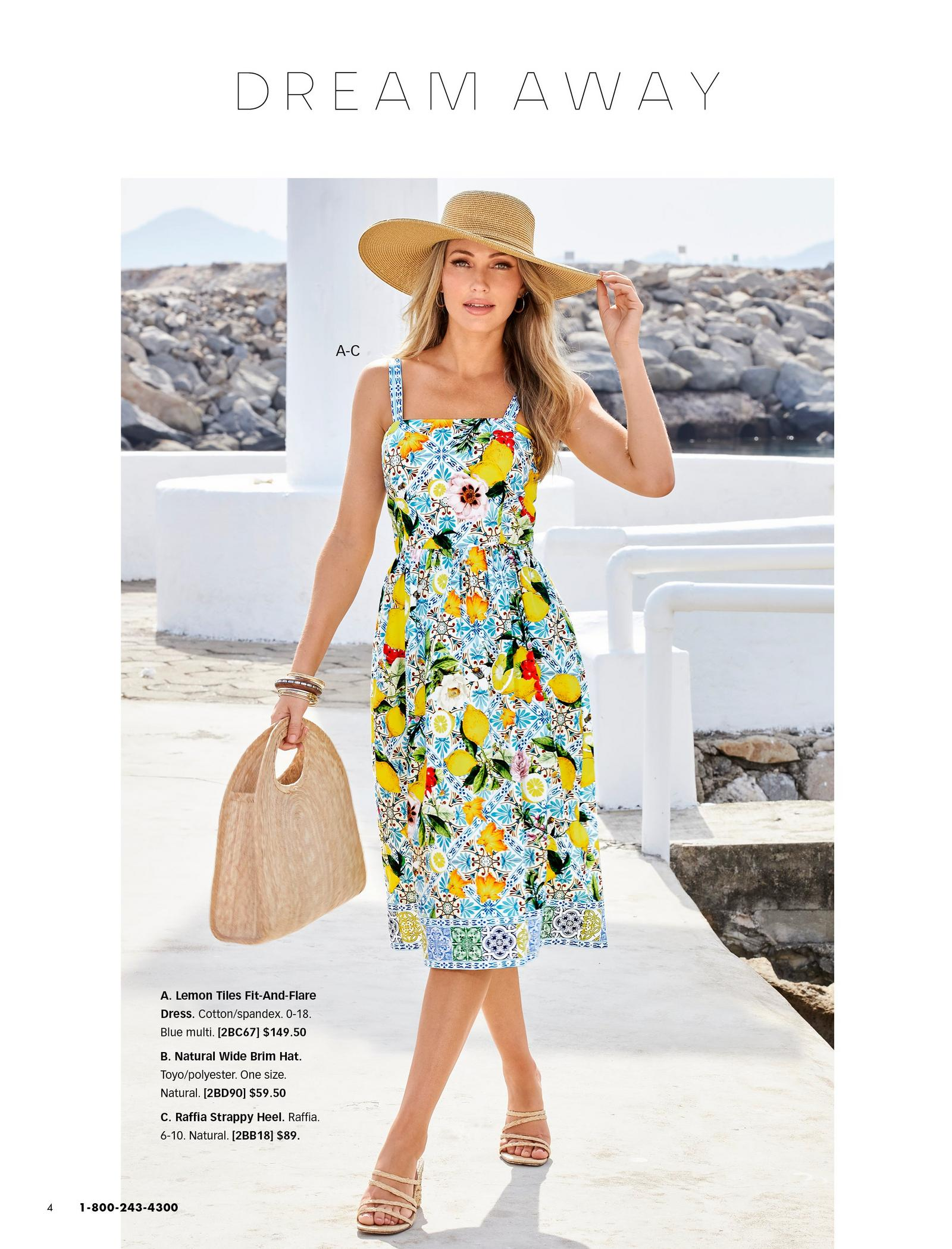 model wearing a lemon and tile print fit and flare sleeveless midi dress, raffia strappy heels, straw hat, and holding a straw bag.