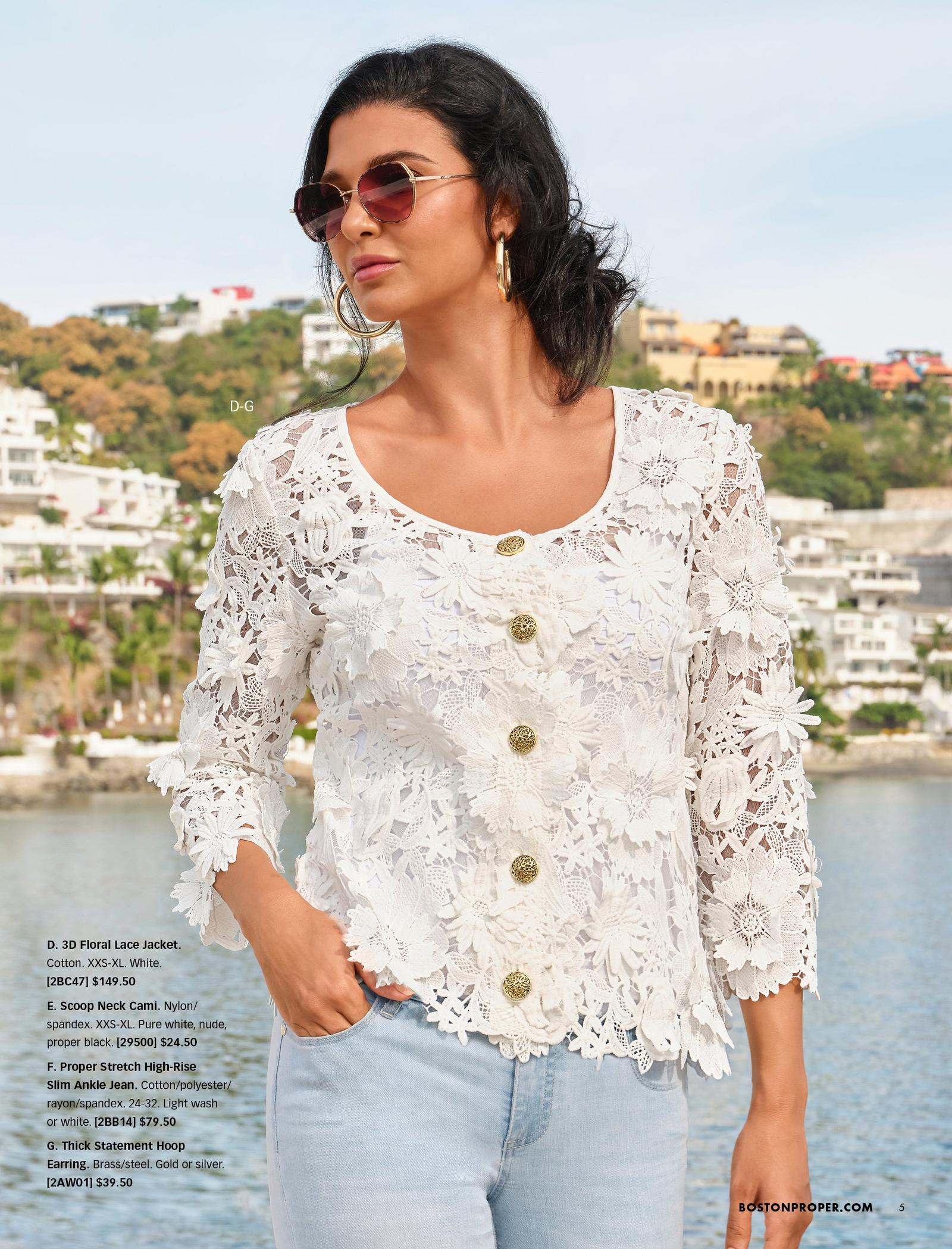 model wearing a white lace cardigan, white tank top, light wash jeans, gold hoop earrings, and sunglasses.