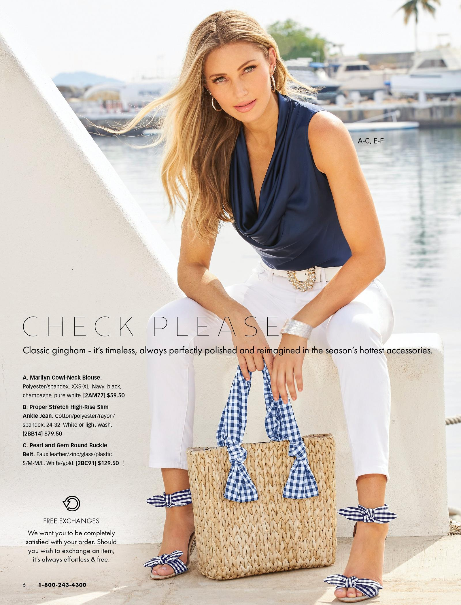 model wearing a navy sleeveless cowl neck top, white jeweled belt, white jeans, gingham bow heels, gold hoop earrings, and holding a straw bag with a gingham ribbon handle.