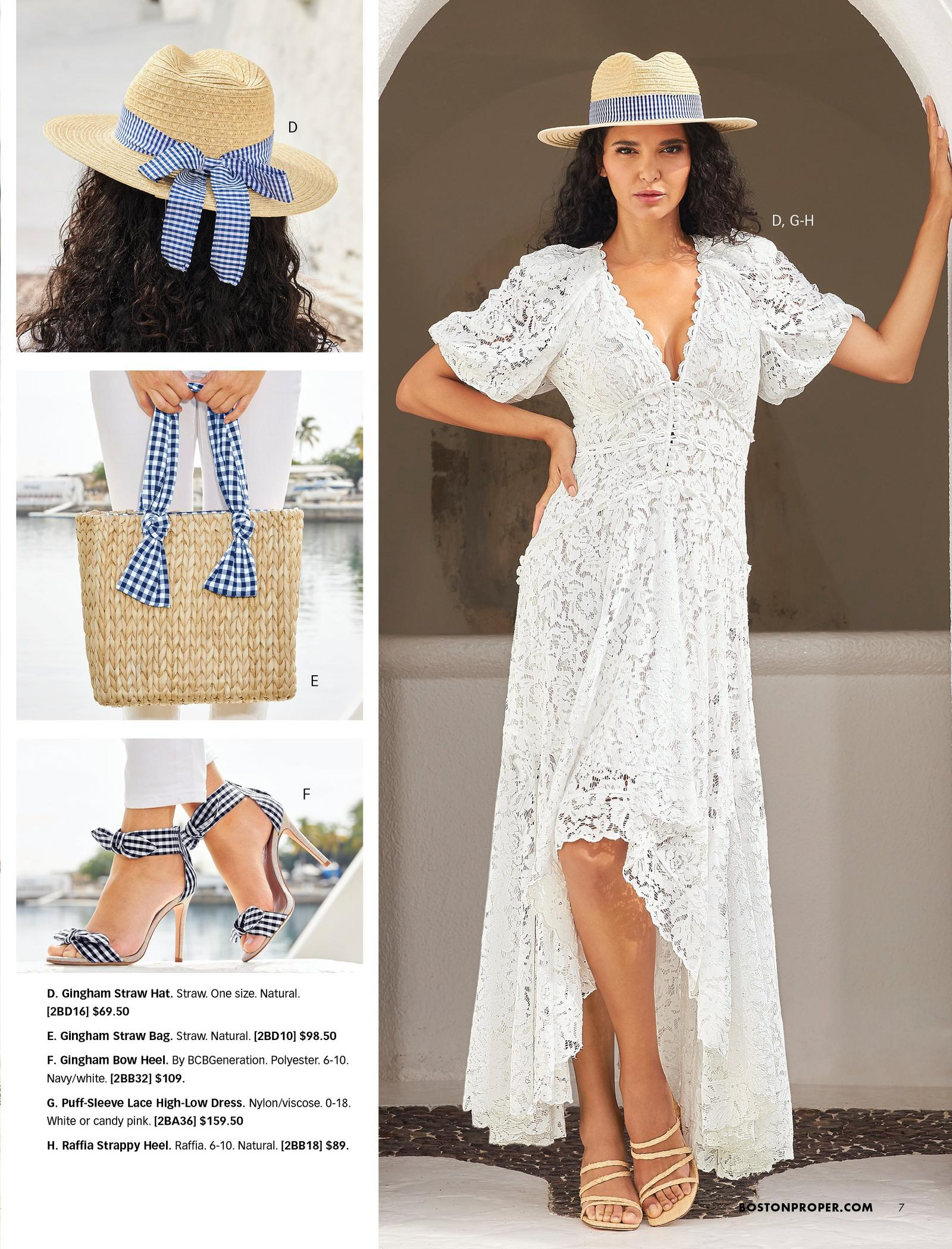 top left model wearing a straw hat with a navy gingham ribbon. middle left model holding a straw bag with a navy gingham ribbon handle. bottom left model wearing navy gingham bow heels. right model wearing a white lace high-low maxi dress, raffia strappy heels, and a straw hat with a navy gingham ribbon.