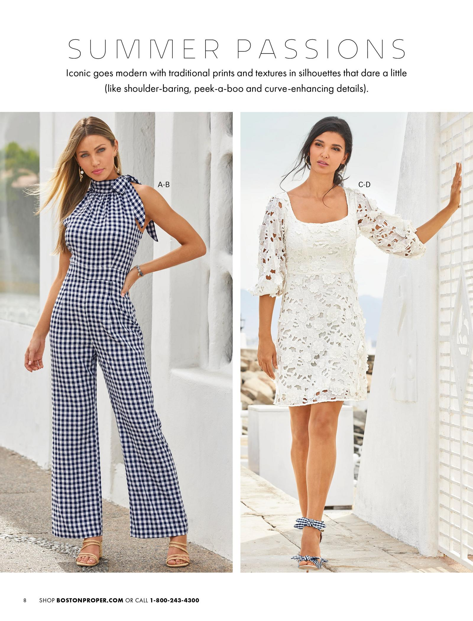 left model wearing a navy gingham high-neck jumpsuit with a bow at the neckline and strappy raffia heels. right model wearing a white lace puff-sleeve dress and navy gingham bow heels.