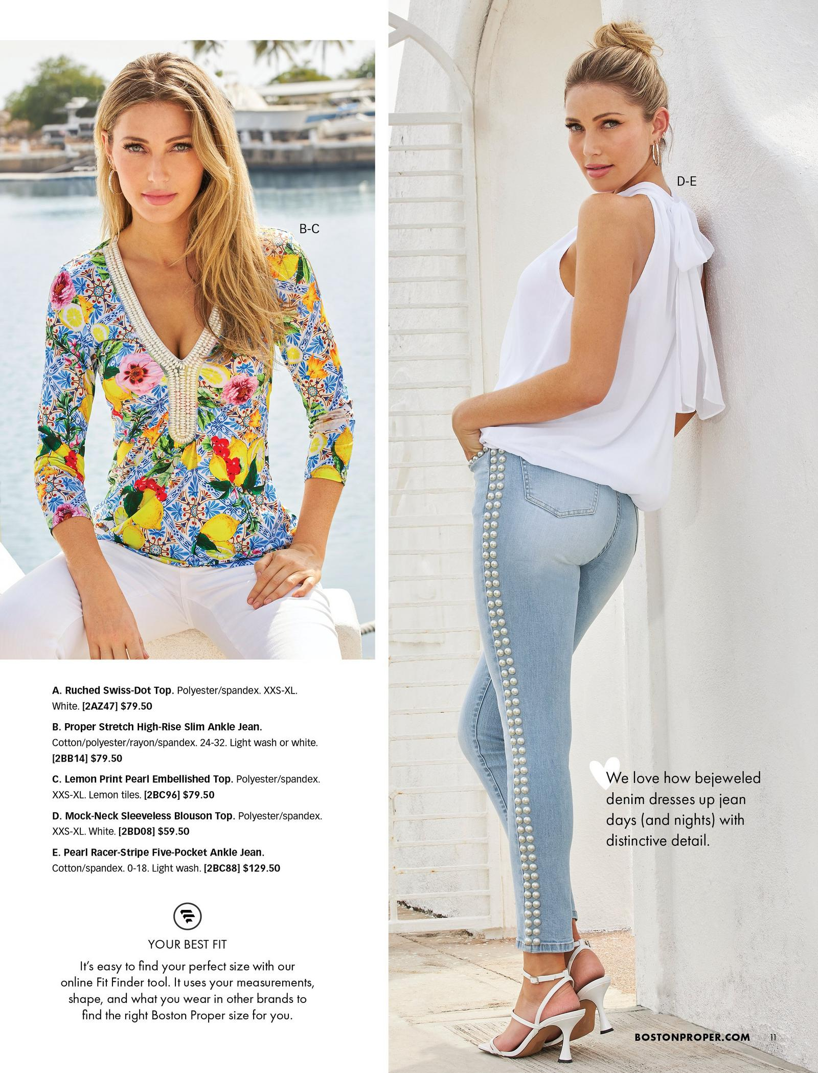 left model wearing a lemon print multicolored embellished long-sleeve top and white jeans. right model wearing a white sleeveless mock-neck blouson top, light wash jeans with pearl embellishments, gold hoop earrings, and white heels.