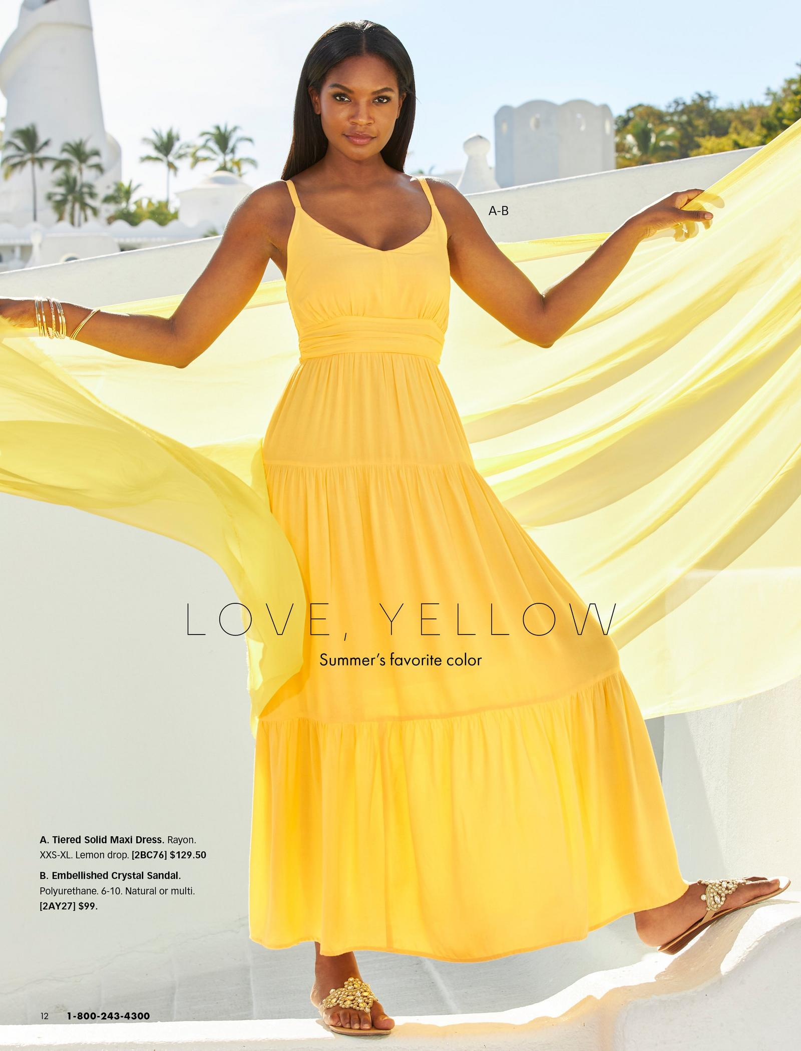 model wearing a yellow sleeveless maxi dress and gold crystal embellished sandals.