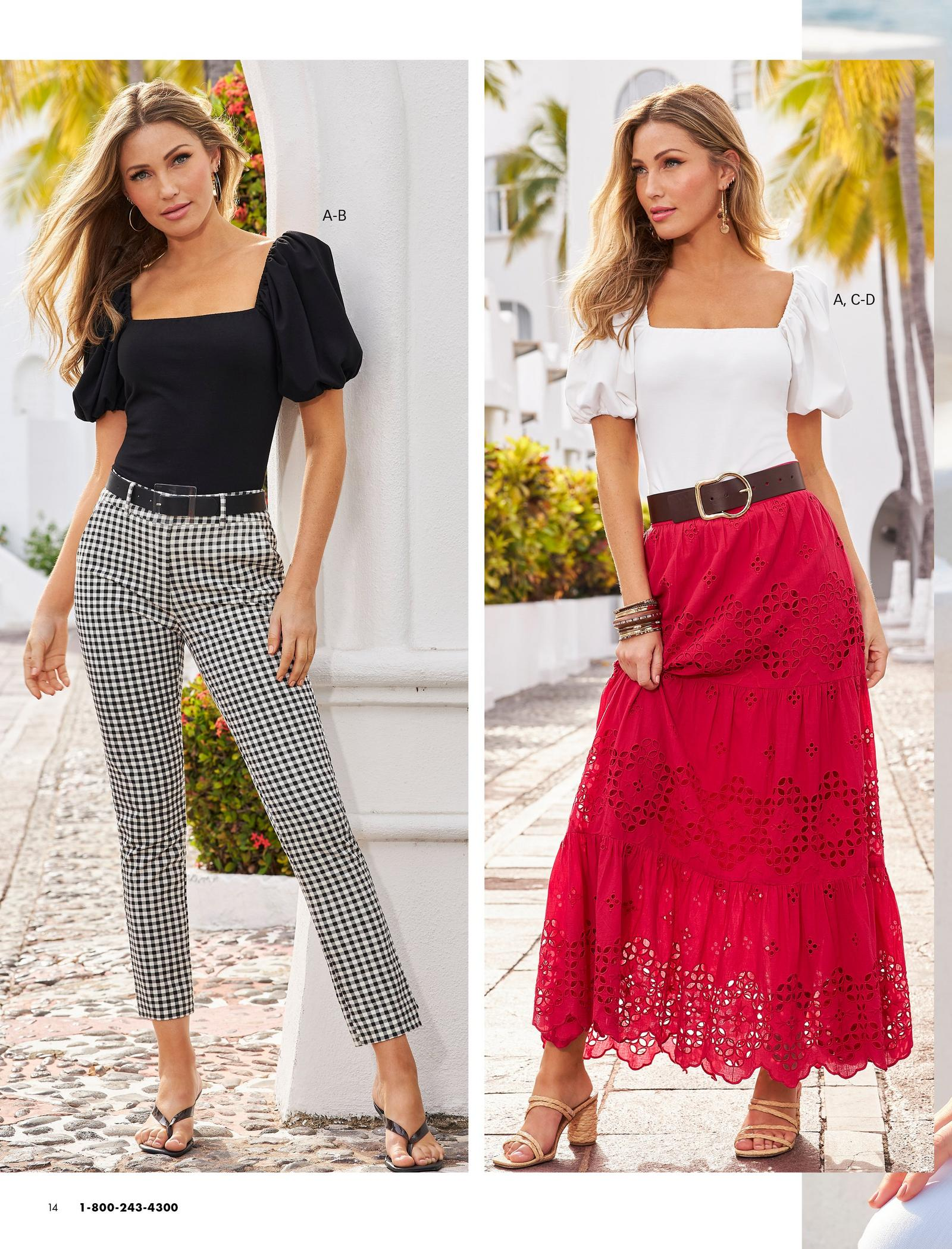 left model wearing a black puff-sleeve square-neck top, black belt, black and white gingham pants, and black heeled sandals. right model wearing a white puff-sleeve square-neck top, black belt, red eyelet maxi skirt, and raffia strappy heels.
