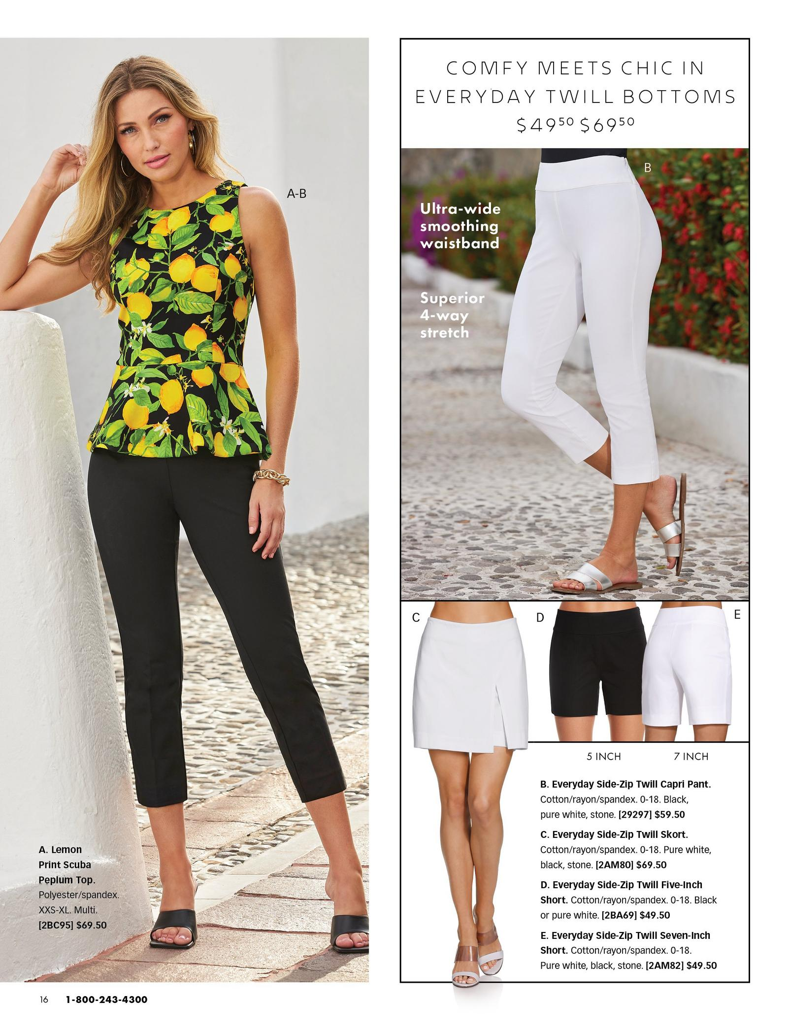 left model wearing a lemon print sleeveless peplum top, black capri pants, and black heels. top right model wearing white capris and silver metallic sandals. bottom right square shows a white skort, black 5-inch shorts, and white 7-inch shorts.