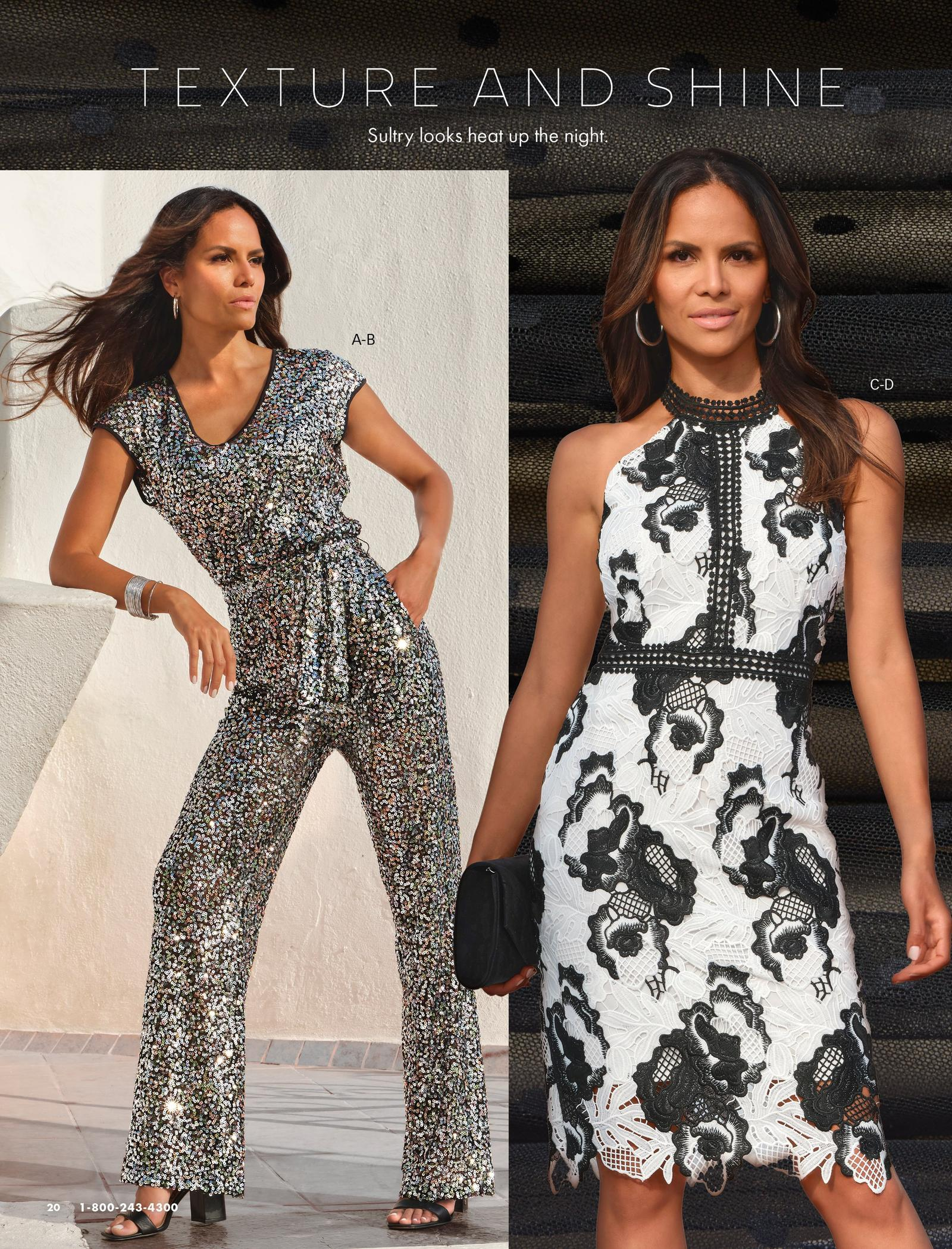 left model wearing a sequin embellished short-sleeve tie-waist jumpsuit and black heels. right model wearing a white and black lace high-neck sleeveless sheath dress, silver hoop earrings, and holding a black clutch