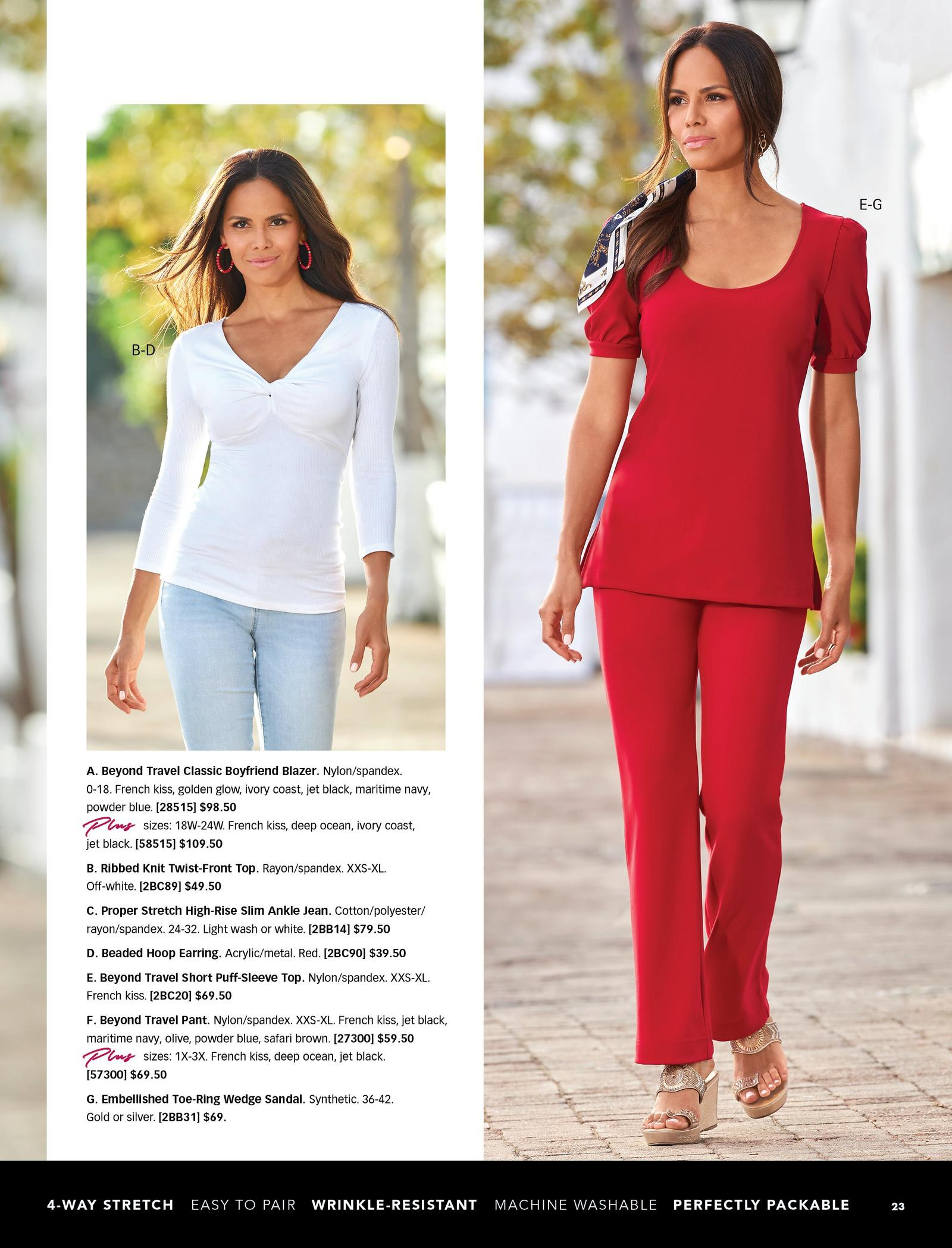 left model wearing a white ribbed twist-front top, red hoop earrings, and light wash jeans. right model wearing a red puff-sleeve top, red pants, and gold wedges.