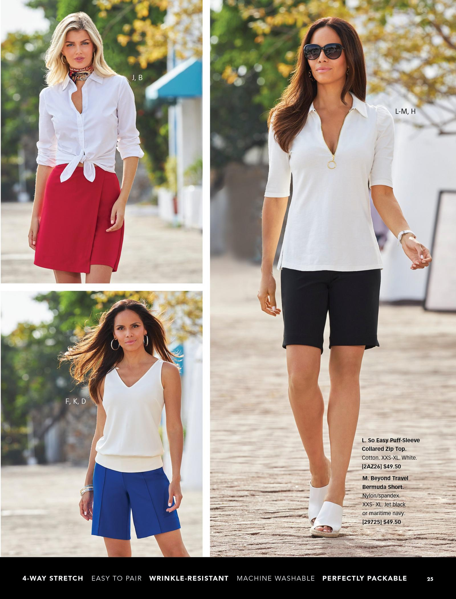 top left model wearing a white button-up top that has been tied, a scarf around her neck, and a red skort. bottom left model wearing a white sleeveless blouson top and blue wide-leg shorts. right model wearing a white collared puff-sleeve zip top, black bermuda shorts, white slide wedges, and sunglasses.