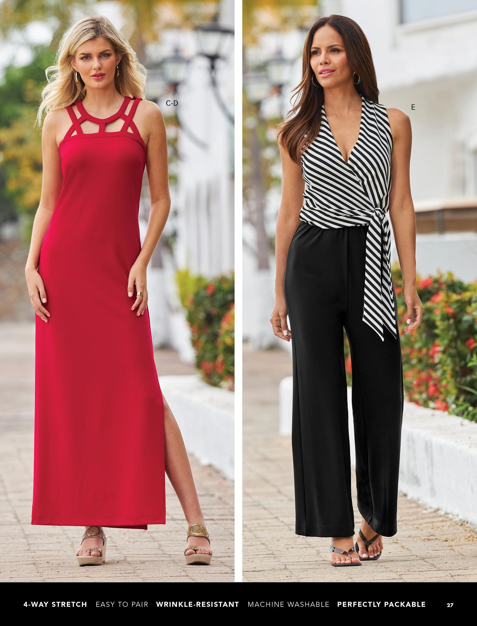 left model wearing a red sleeveless strappy maxi dress and gold wedges. right model wearing a black and white jumpsuit that has striped at the top and solid black at the bottom and black heeled sandals.