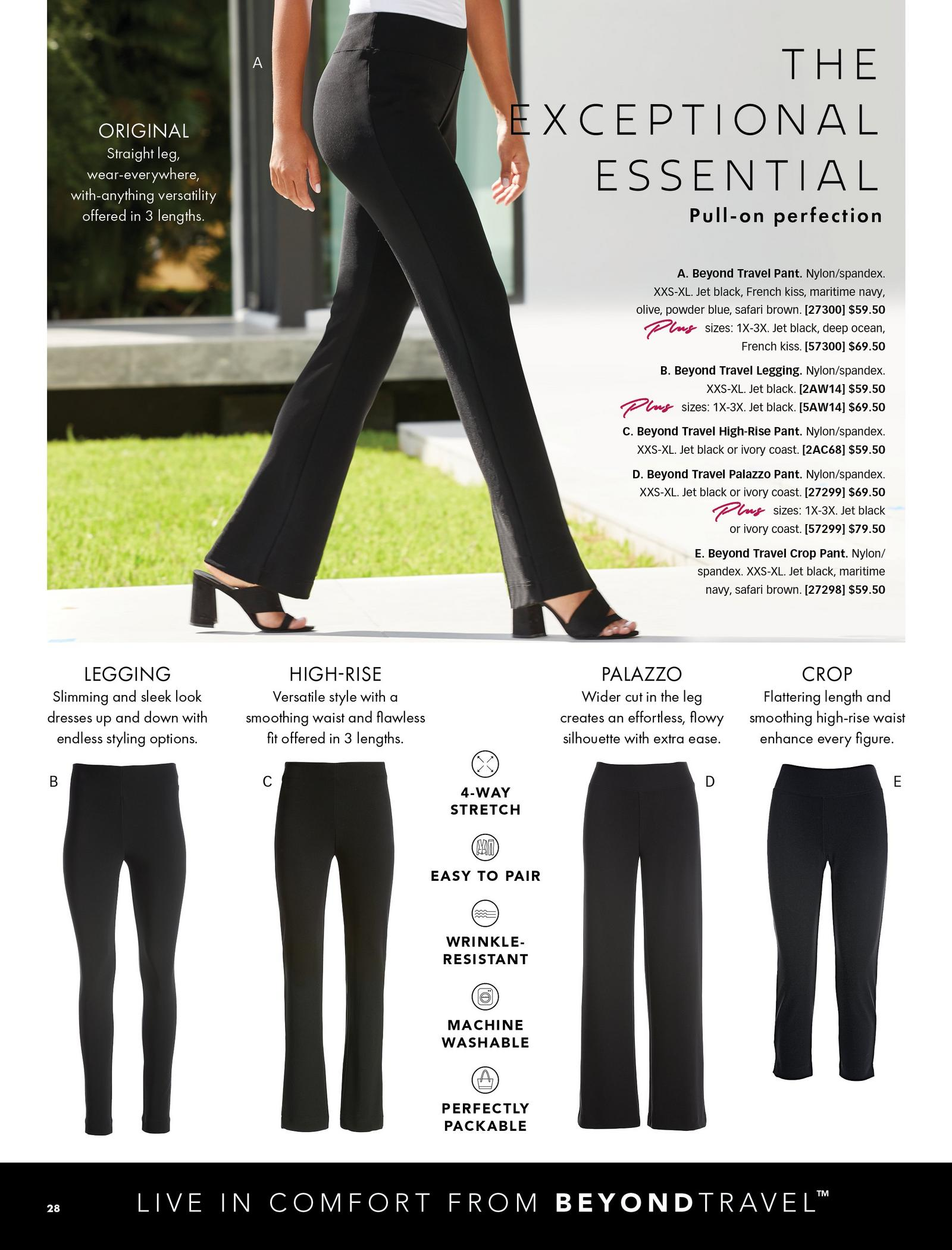 all beyond travel pants shown: the original, the leggings, the high-rise, the palazzo, and the crop.
