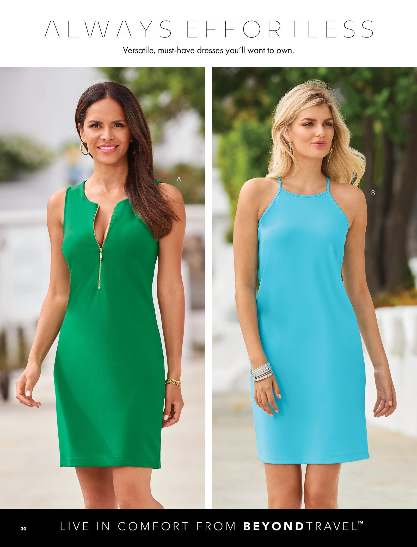 left model wearing a green sleeveless zipper dress. right model wearing a light blue high-neck sleeveless dress.