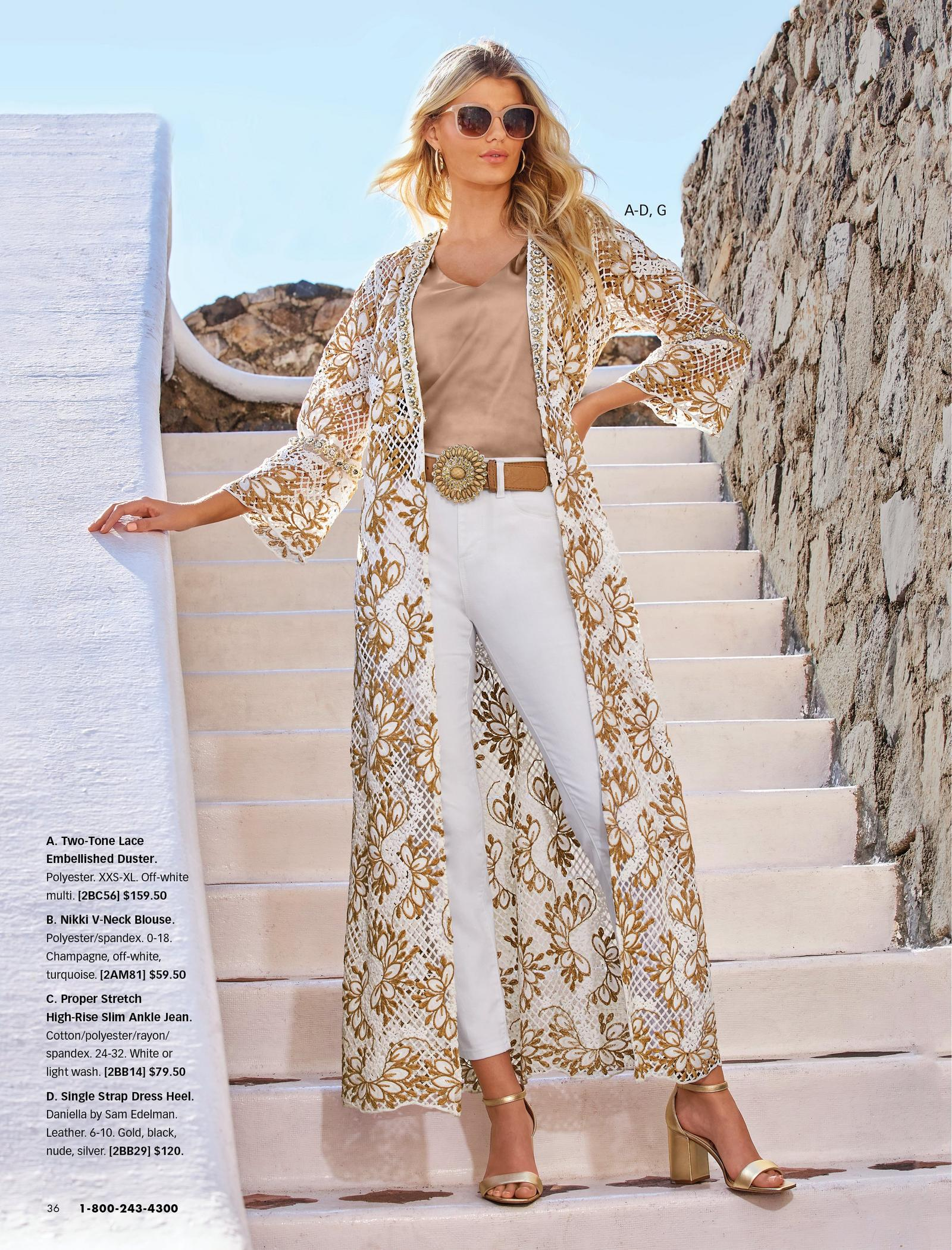 left model wearing a white and gold long lace duster, tan v-neck top, brown embellished belt, white jeans, gold heels, gold hoop earrings, and sunglasses.