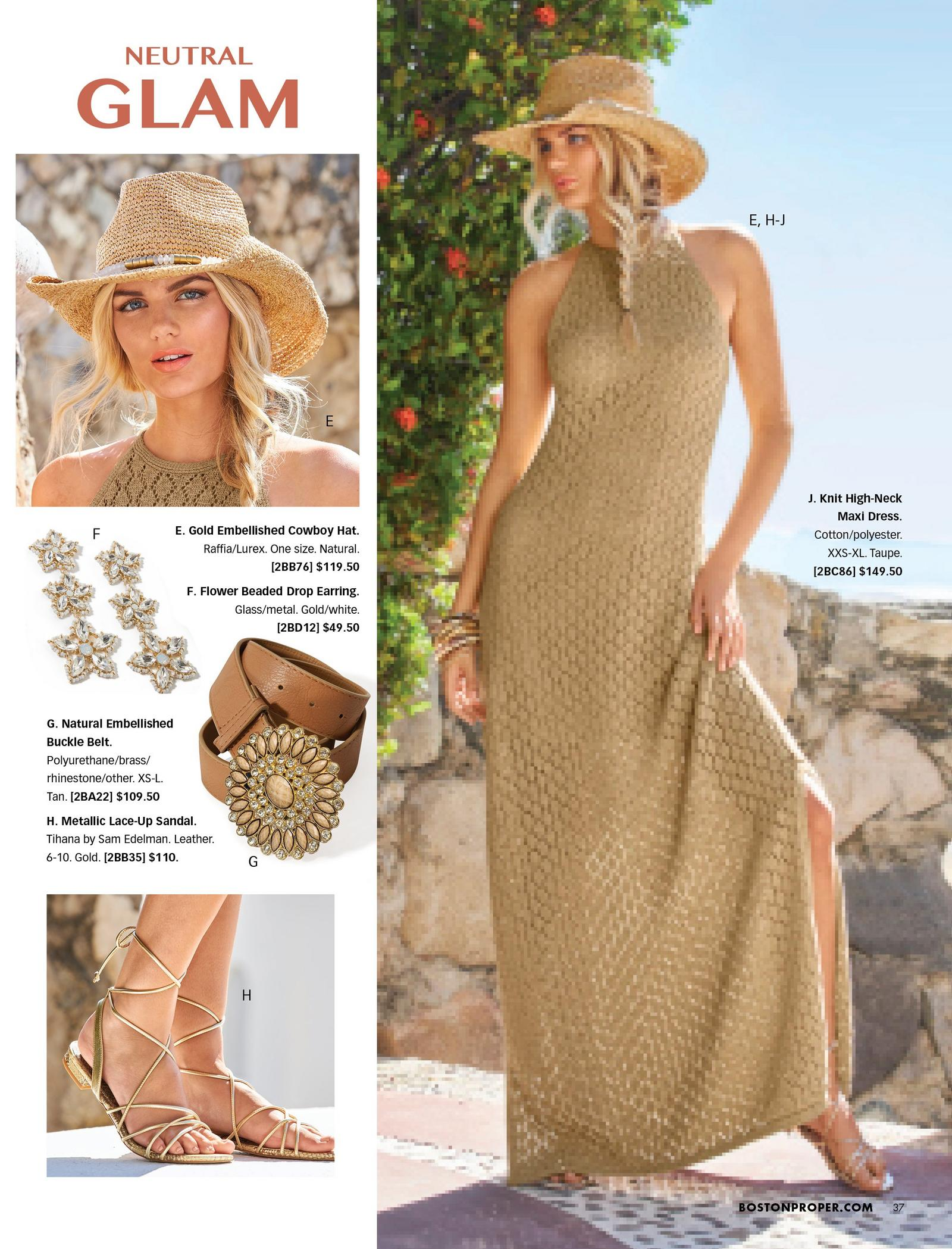 left panel shows: gold embellished cowboy hat, flower drop earrings, brown embellished belt, and gold lace-up sandals. right model wearing a taupe high-neck sleeveless knit maxi dress, gold lace-up sandals, and gold embellished cowboy hat.
