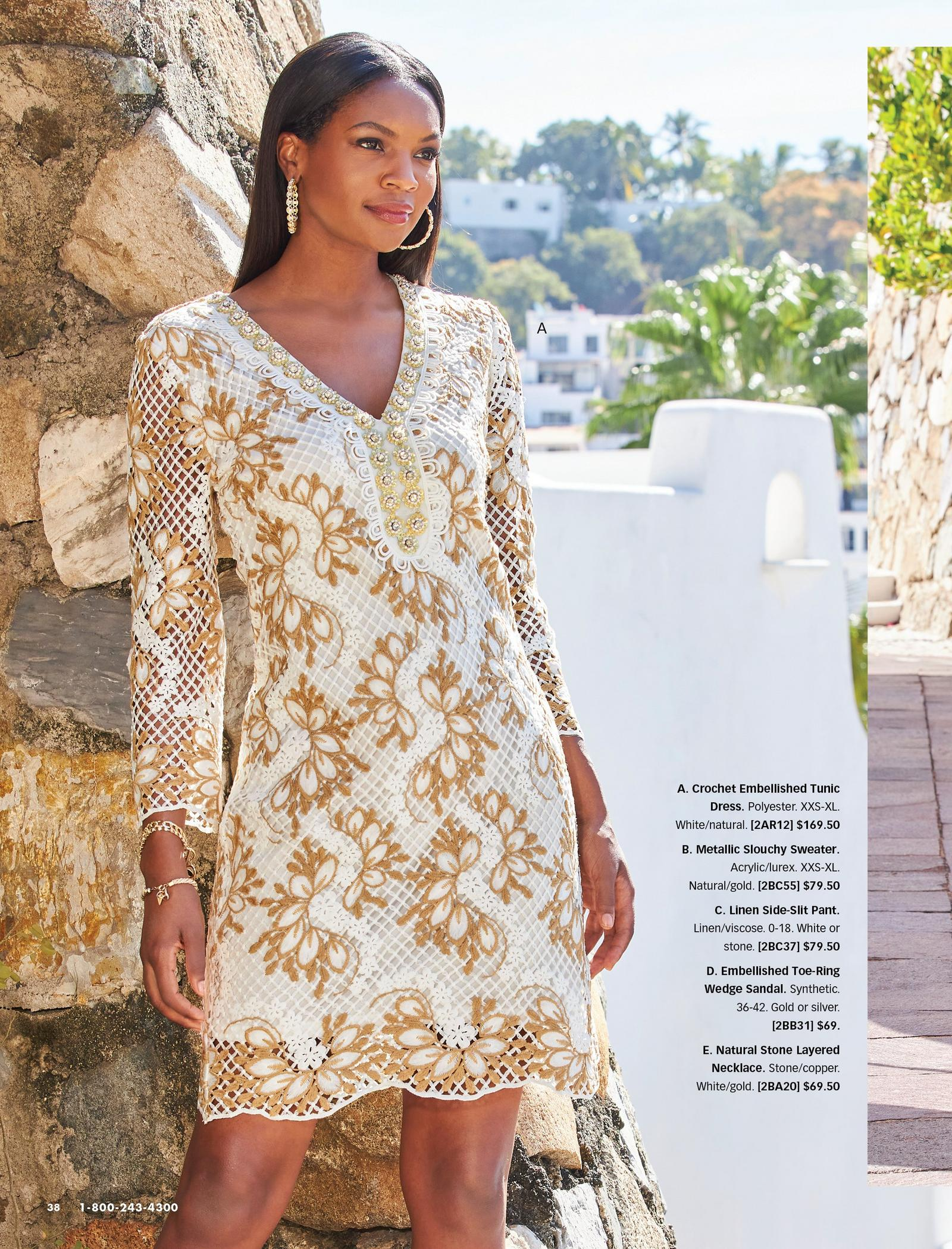 model wearing a white and gold crochet long-sleeve embellished sheath dress and gold hoop earrings.