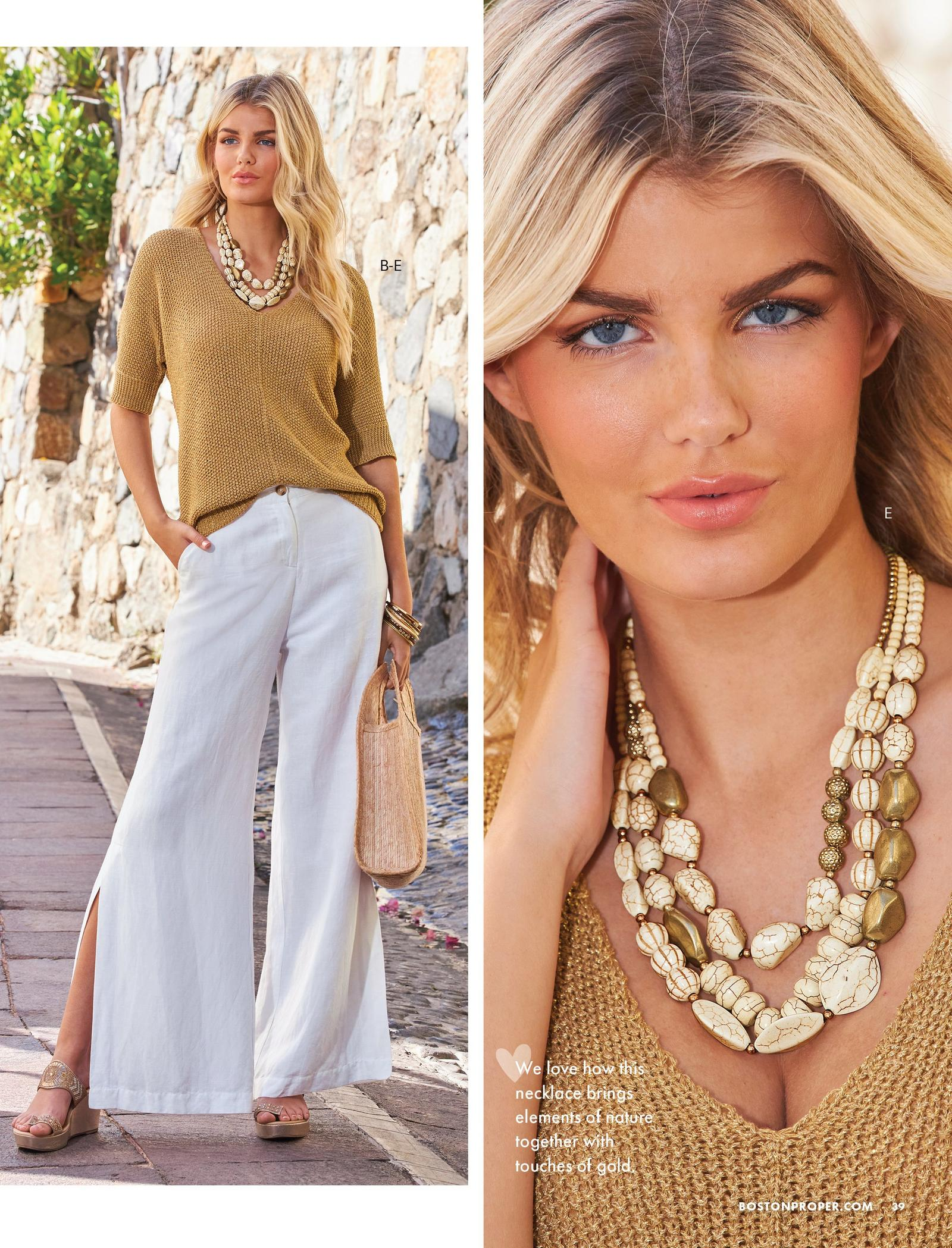 left model wearing a gold metallic slouchy sweater, white linen pants, gold wedges, stone necklace, and holding a straw bag. right model showing a close-up of the stone necklace.