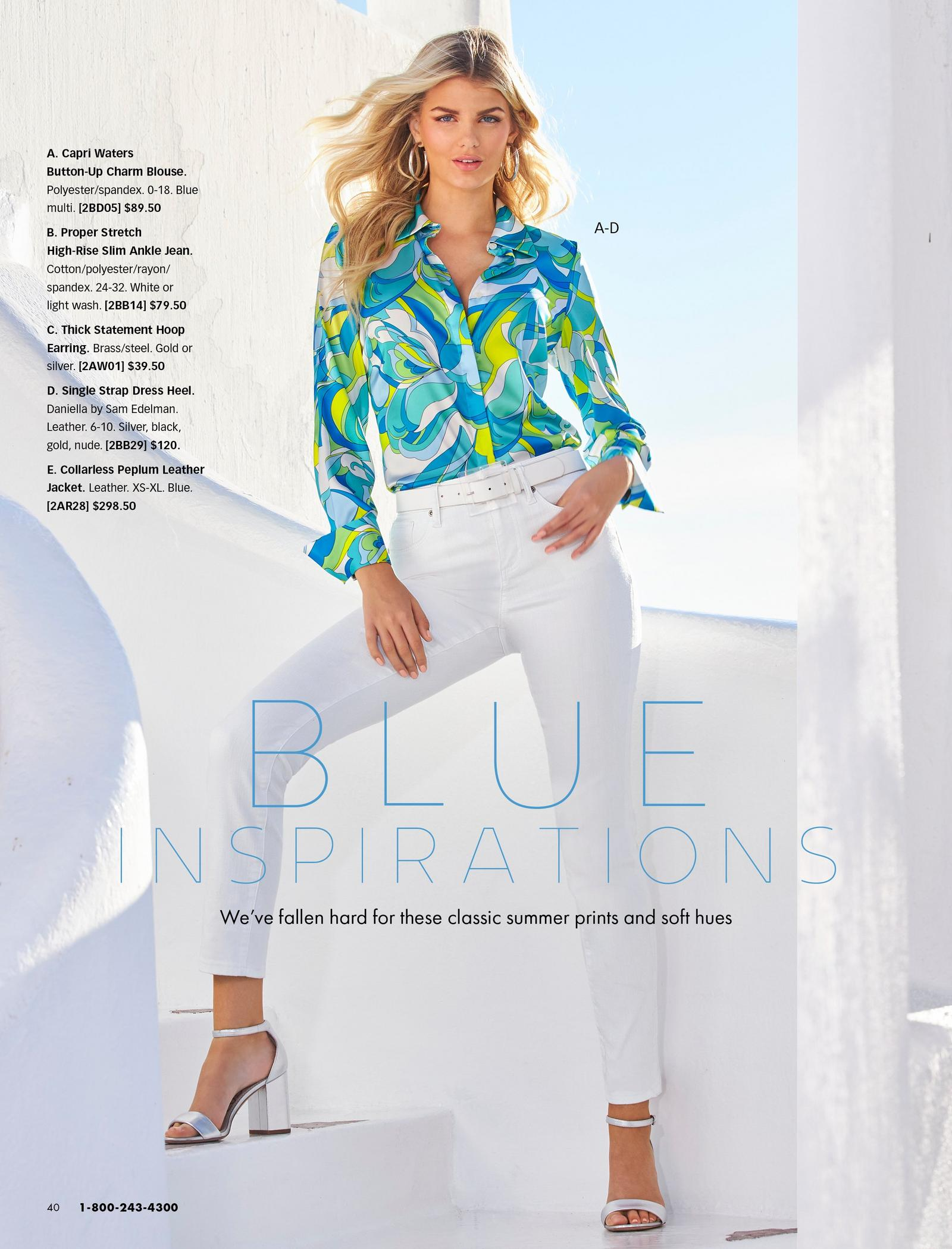 model wearing a blue and green paisley print button down charm blouse, white belt, white jeans, gold hoop earrings, and silver heels.