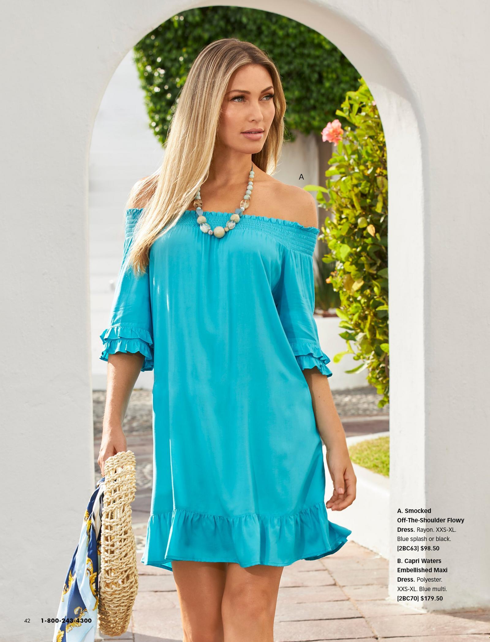 model wearing a light blue off-the-shoulder dress.