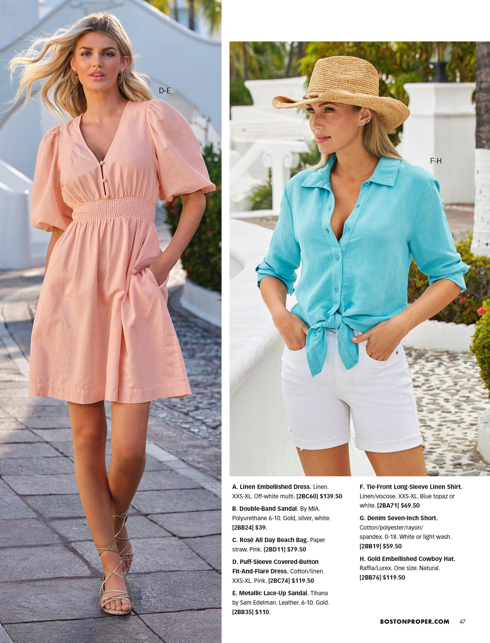 left model wearing a light pink puff-sleeve covered-button fit and flare dress and gold lace up sandals. right model wearing a blue tie-print long-sleeve linen shirt, gold embellished cowboy hat, and white jean shorts.
