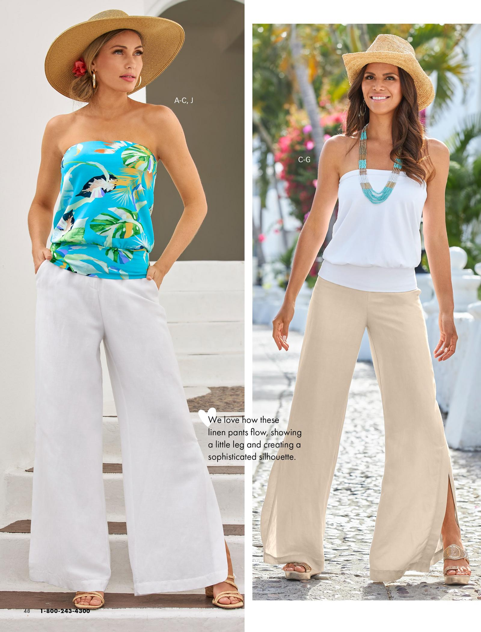 left model wearing a tropical print multicolored blouson tube top, white linen pants, gold hoop earrings, straw hat, and raffia strappy heels. right model wearing a white blouson tube top, straw hat, turquoise beaded necklace, tan linen pants, and gold wedges.