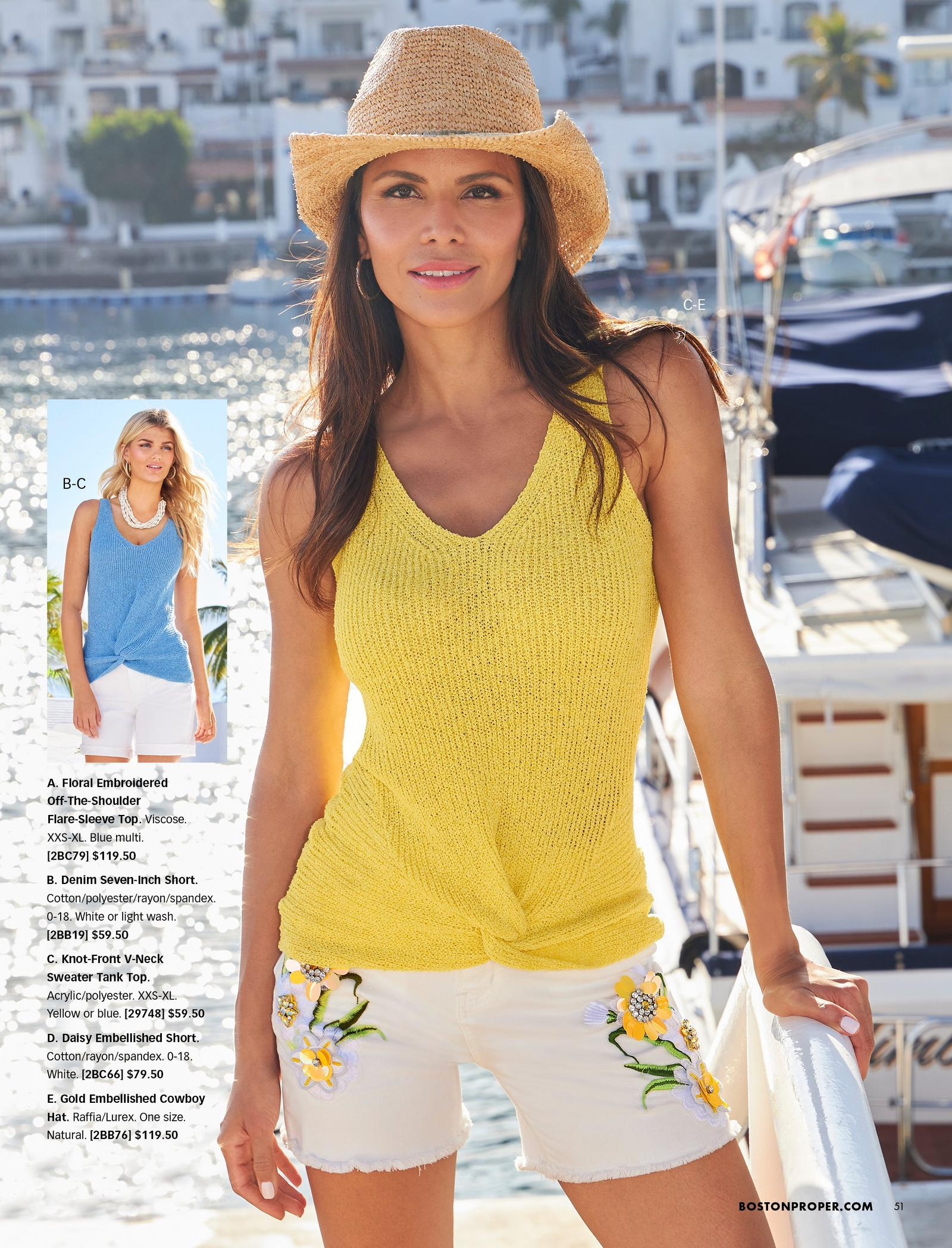 model wearing a yellow sleeveless knot-front sweater, white jean shorts with floral embellishments, and gold embellished cowboy hat. also shown: the sweater in blue.