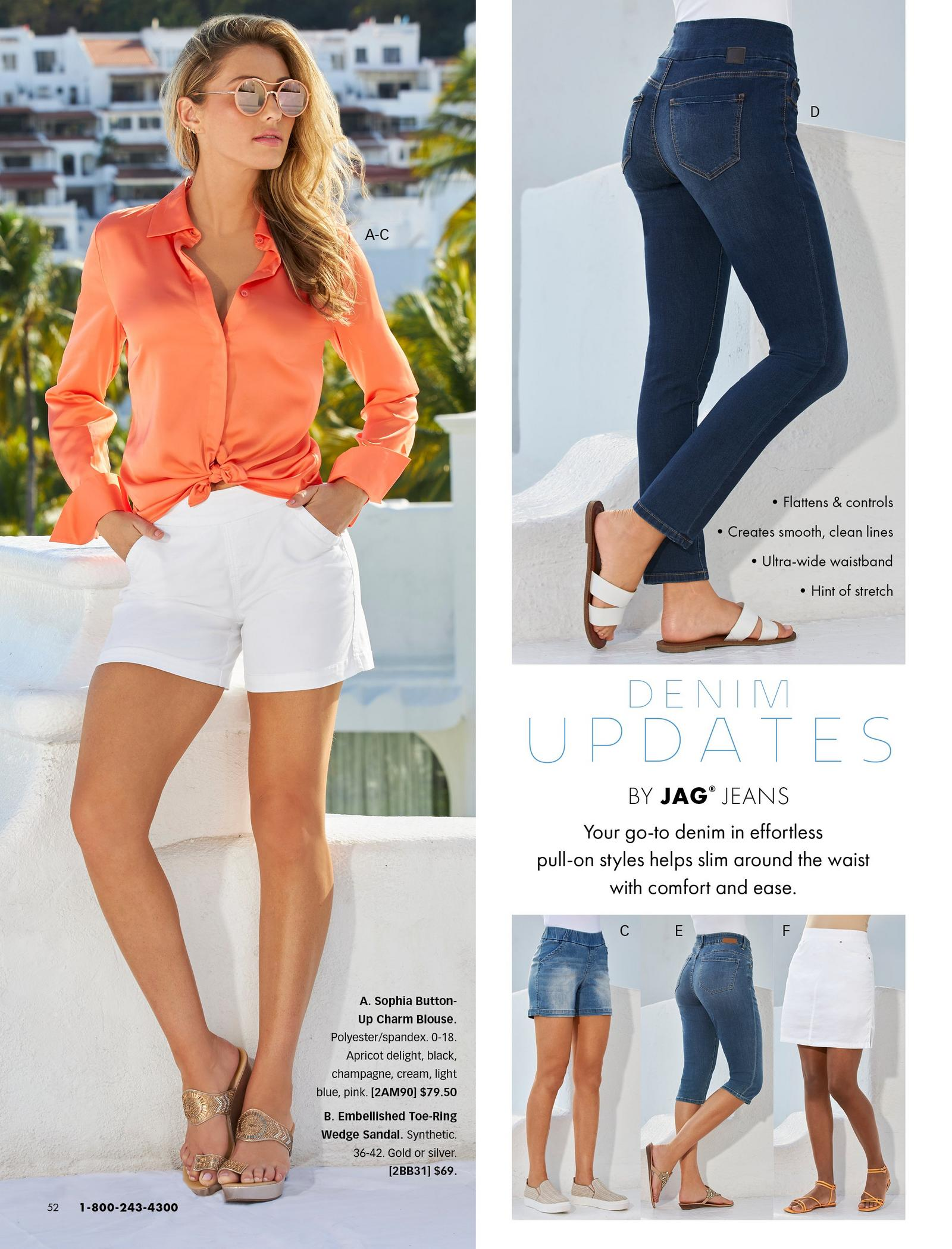 left model wearing an orange button-up long-sleeve charm top, white shorts, gold wedges, and sunglasses. right top model wearing jag jeans in a dark wash and white double-strap sandals. also shown: jag shorts, capris, and skort.
