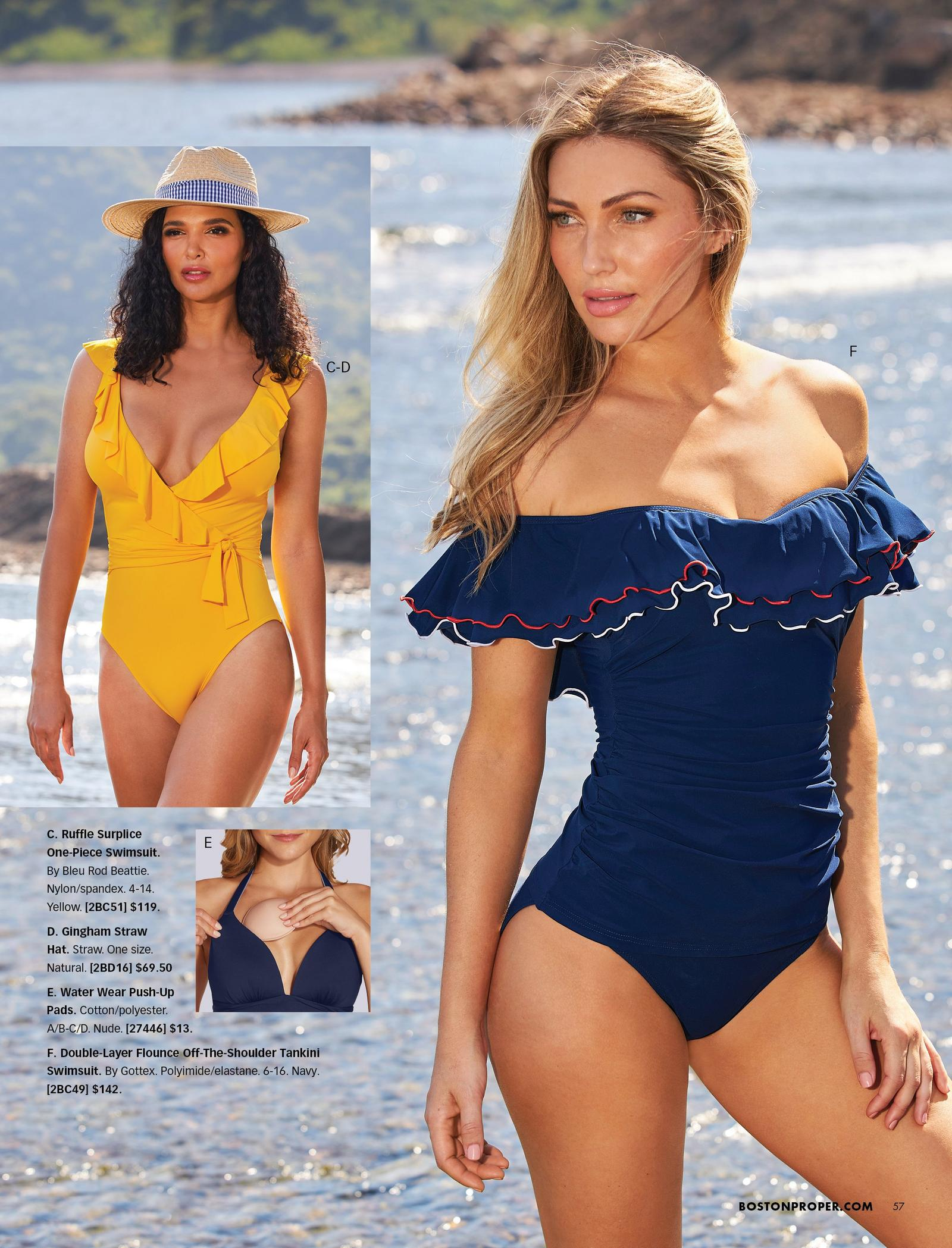 left model wearing a yellow ruffle surplice one-piece swimsuit and a straw hat with a navy gingham ribbon. right model wearing a navy off-the-shoulder ruffled tankini. also shown: water push-up pads.