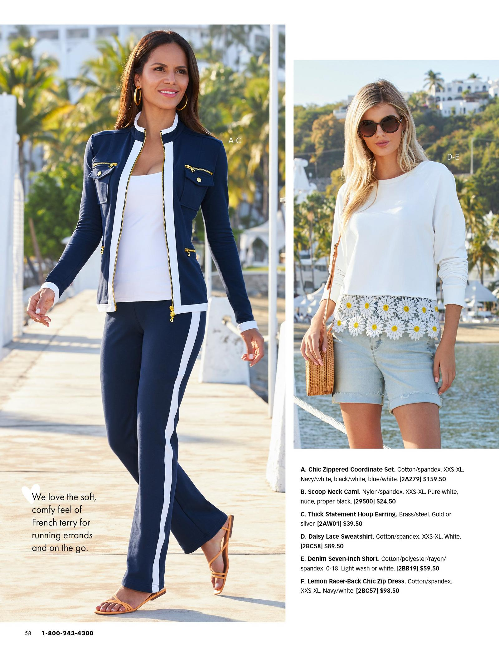 left model wearing a navy and white chic zip set and white tank top, orange sandals, and gold hoop earrings. right model wearing a white sweatshirt with daisy and lace embellishments, jean shorts, straw bag, and sunglasses.
