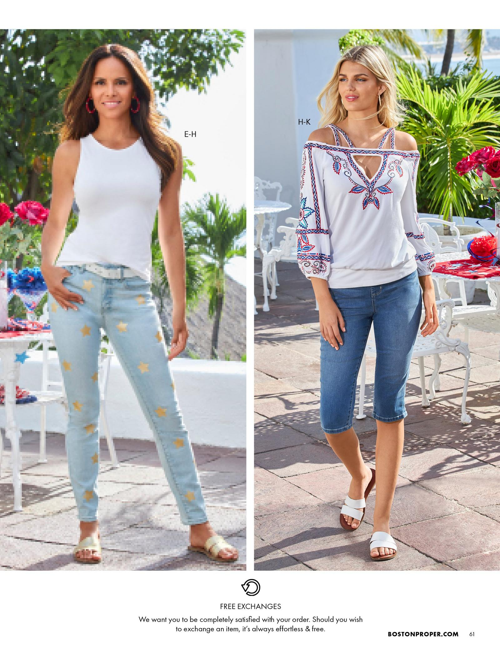 left model wearing light wash gold star printed jeans, white tank top, red hoop earrings, and gold strappy sandals. right model wearing a white long-sleeve cold-shoulder top with floral embroidery, capri jeans, gold hoop earrings, and white strappy sandals.