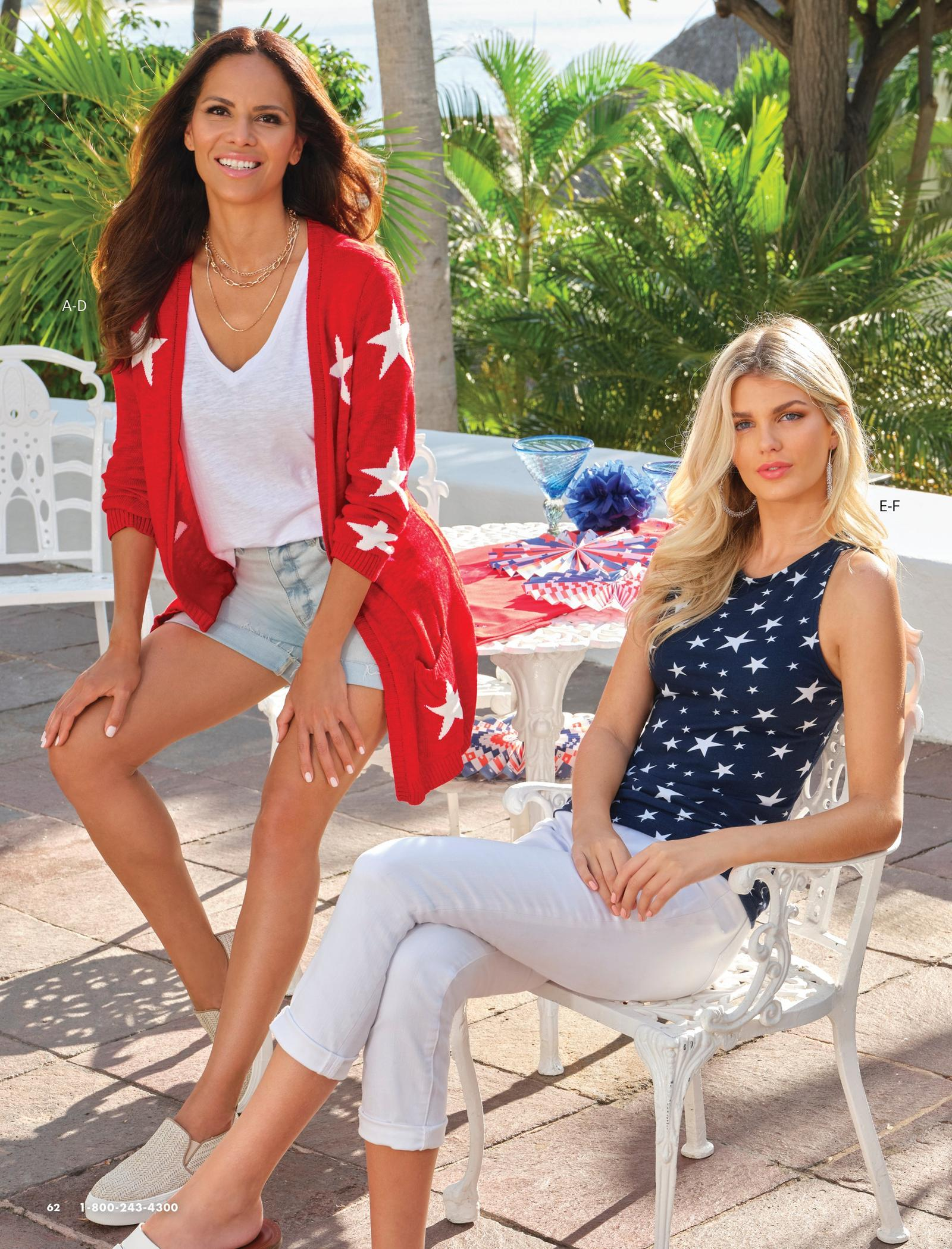 left model wearing a red and white star print cardigan, white tee, denim shorts, and slip-on sneakers. right model wearing a navy and white star print high neck top, white jeans, and white double-strap sandals.