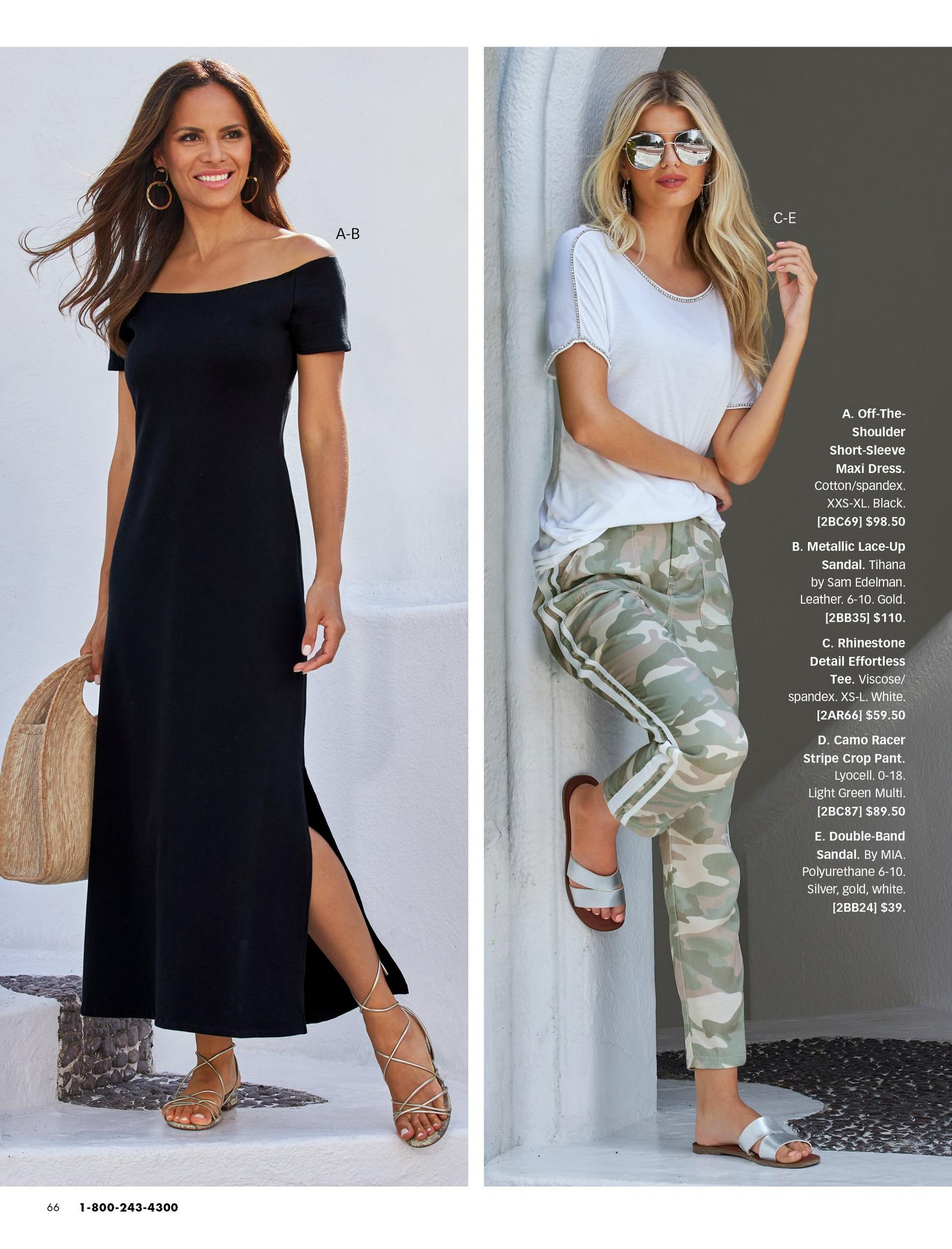 left model wearing a black off-the-shoulder maxi dress, lace up gold sandals, and straw bag. right model wearing a white embellished tee, camo racer stripe crop pants, silver aviators, and silver double-band sandals.