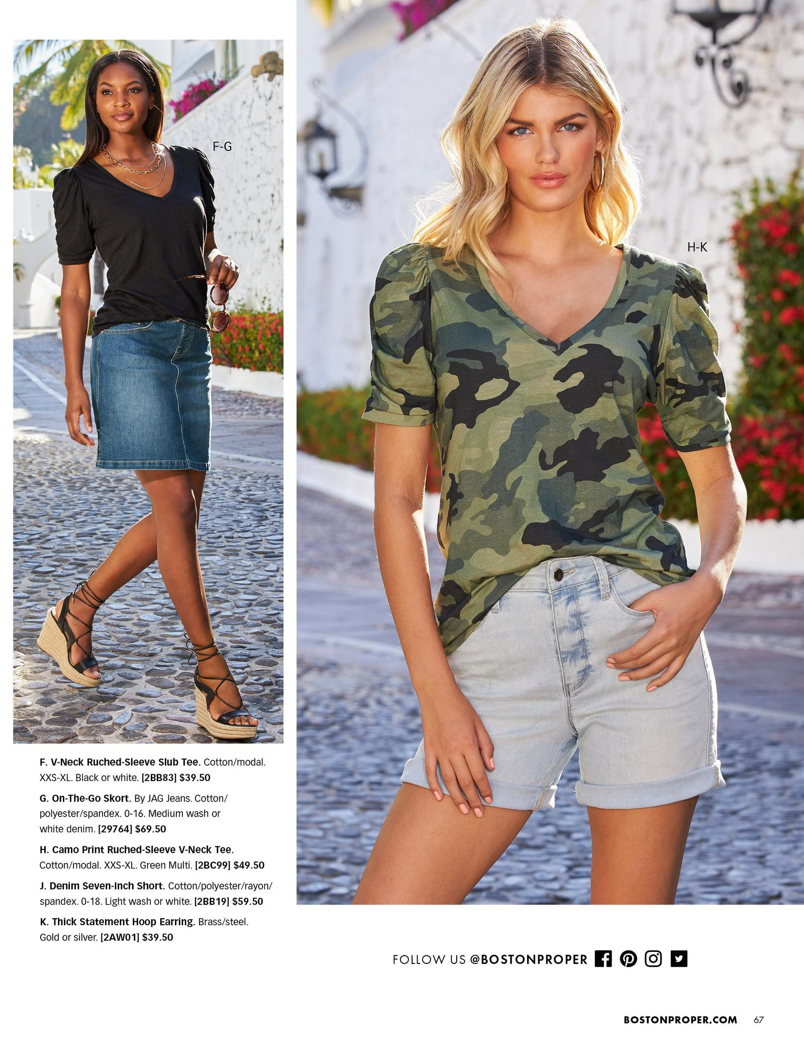 left model wearing a lack puff-sleeve top, denim skort, and black lace up wedges. right model wearing a camo puff-sleeve top, denim shorts, and gold hoop earrings.