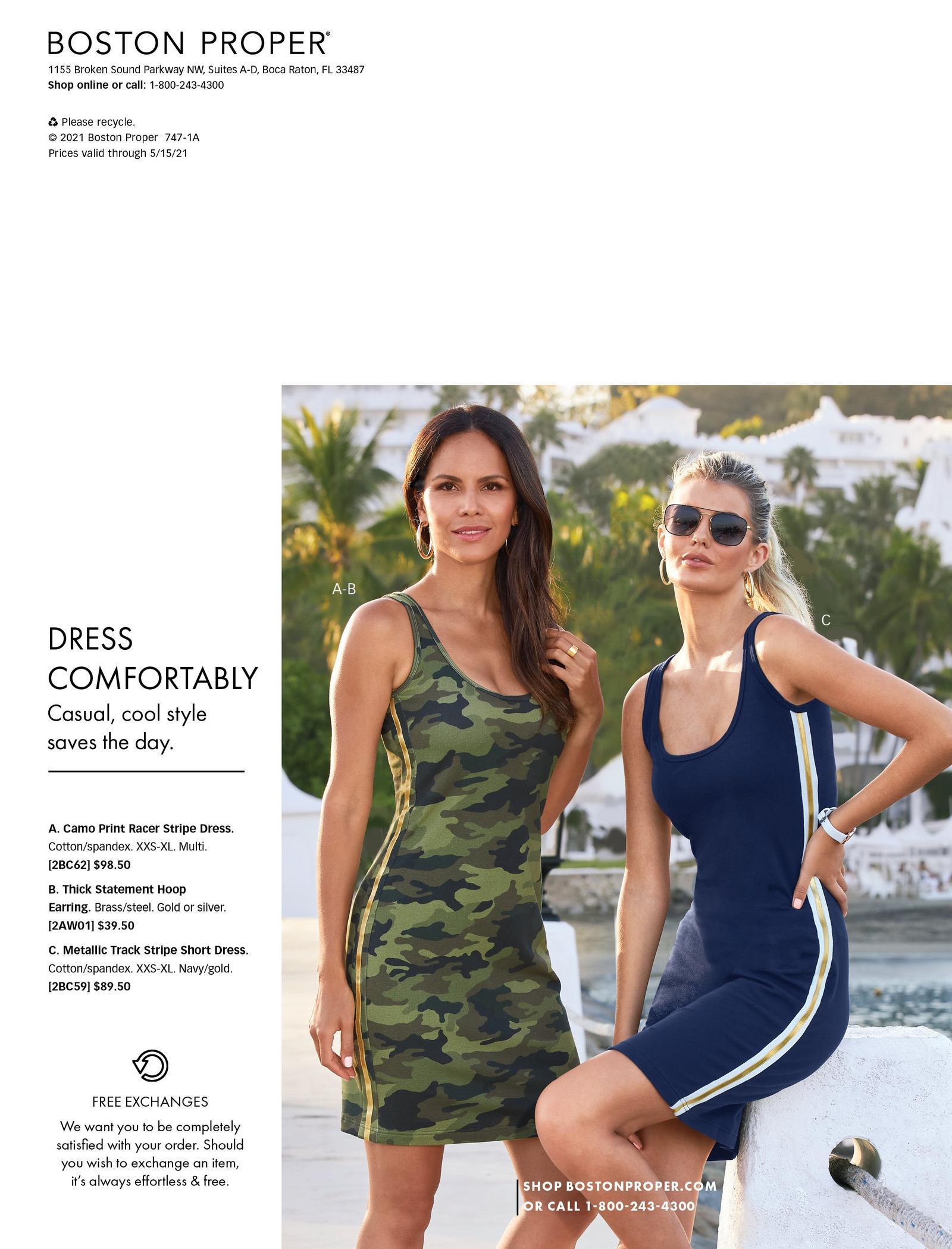 left model wearing a camo racer stripe sleeveless sport dress. right model wearing a navy race stripe sleeveless sport dress and sunglasses.