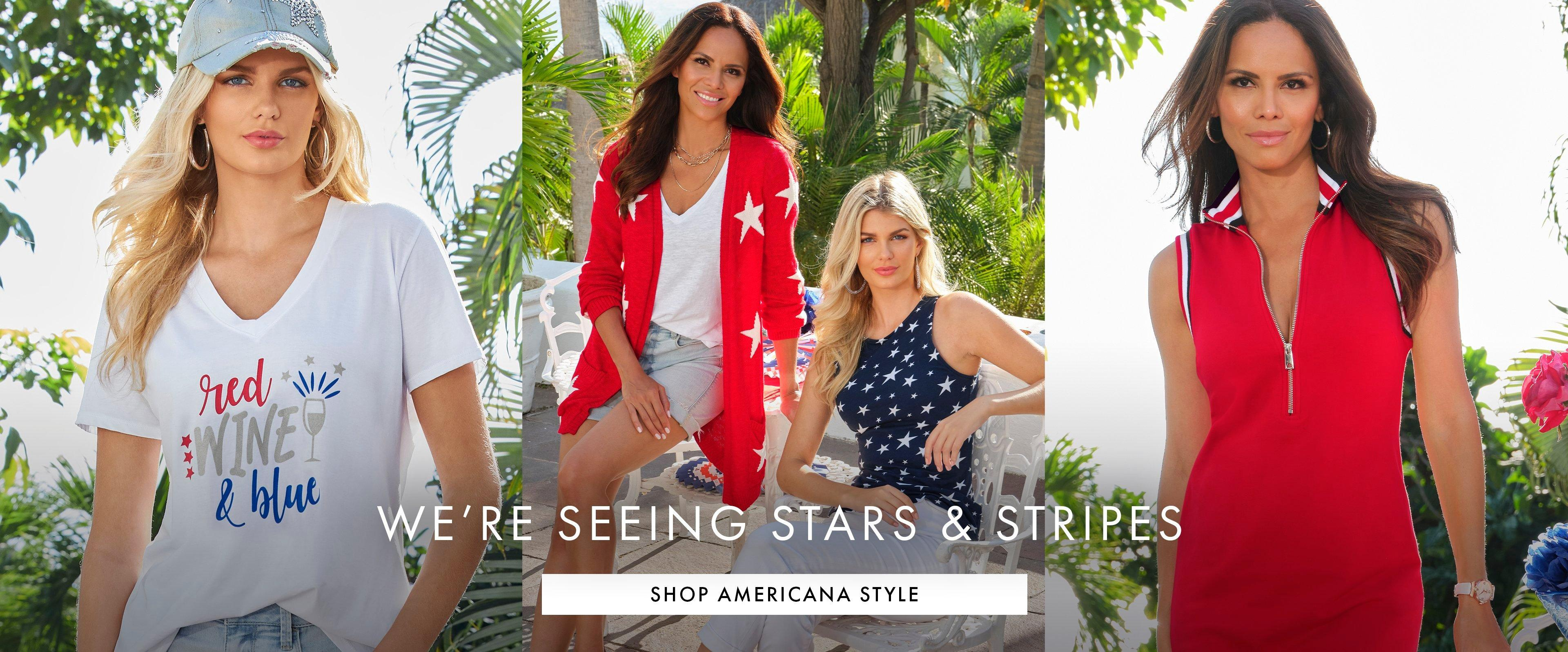 going from left to right: model wearing a white graphic tee with red, white, and blue lettering and a denim embellished baseball cap. model wearing a red and white star printed cardigan, white v-neck tee, and light wash jeans. model wearing a navy and white star printed sleeveless top and light wash jeans. model wearing a red, white, and blue sleeveless sport dress.