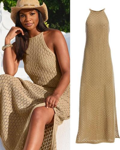 model wearing a tan high-neck knit maxi dress.