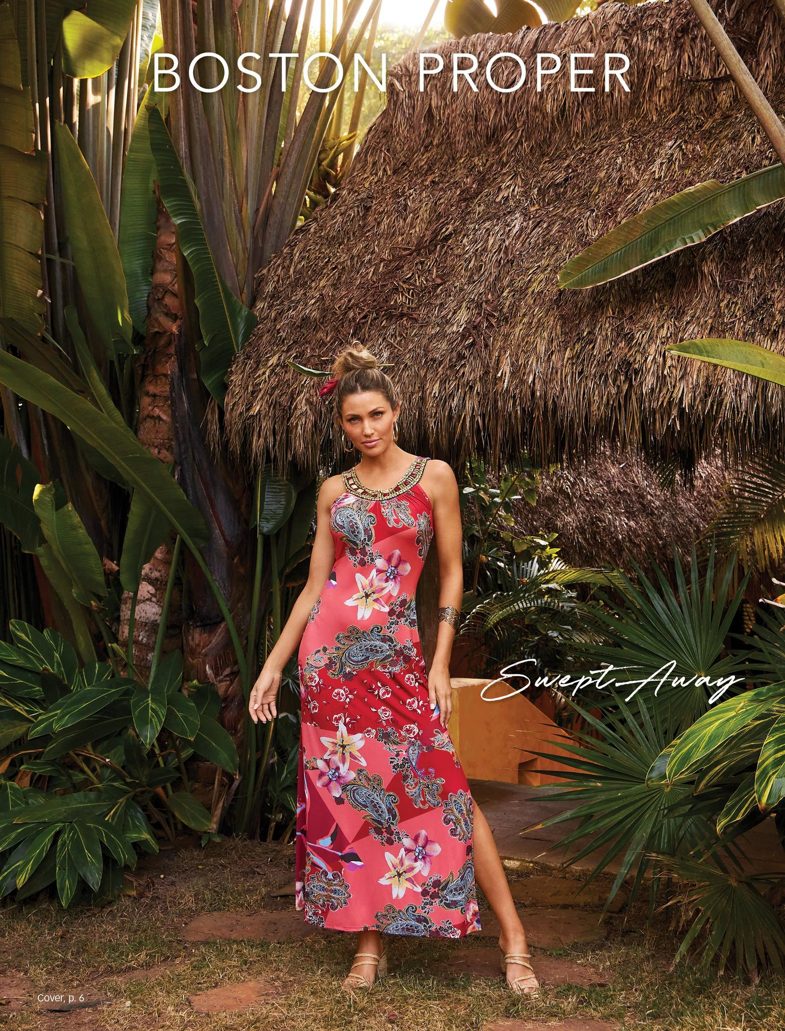 model wearing a pink floral printed embellished maxi dress and raffia strappy heels.
