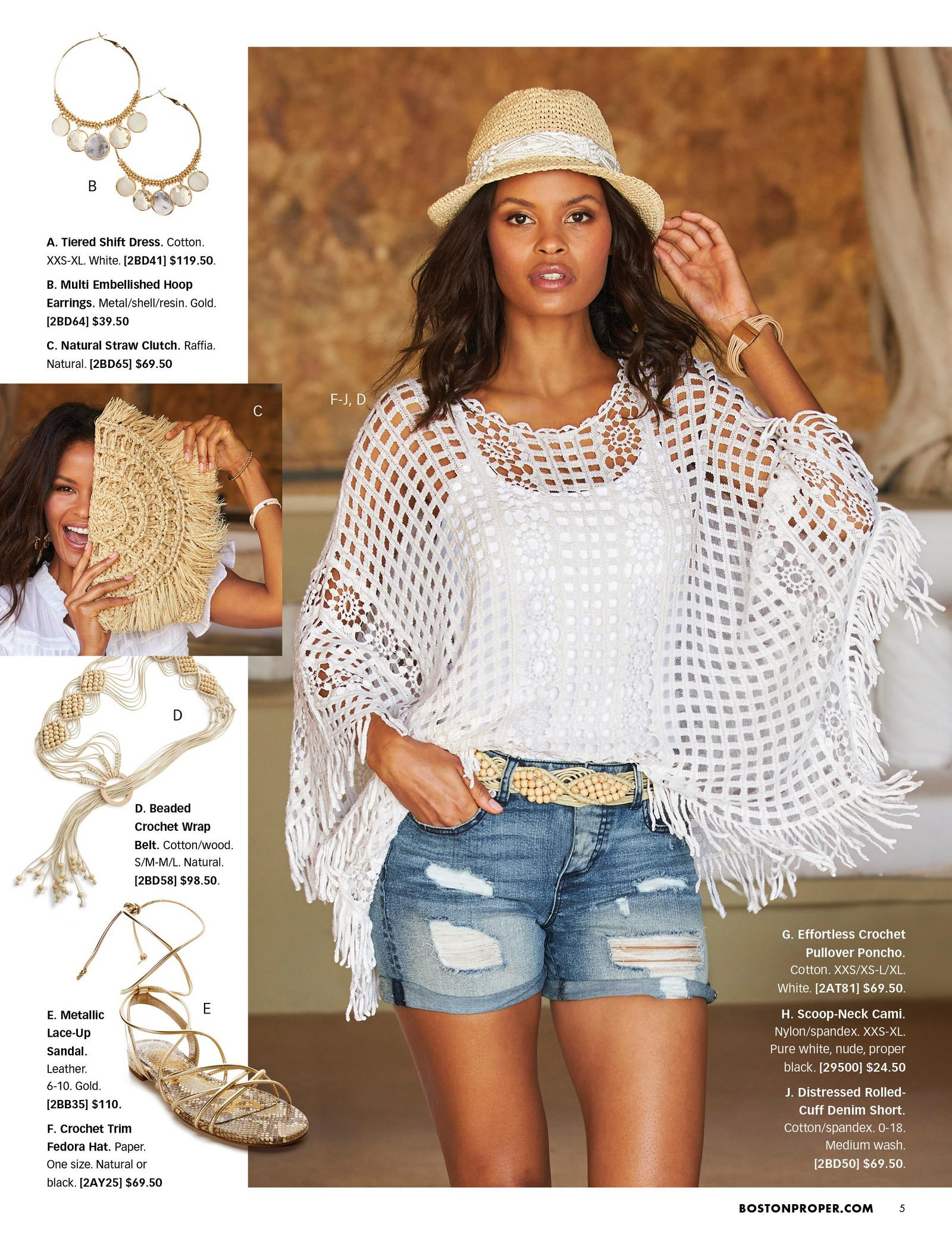 model wearing a white crochet pullover poncho, white tank top, beaded crochet belt, ripped denim shorts, and a straw hat. left panel showing embellished hoop earrings, straw clutch, beaded crochet belt, and gold lace-up sandals.