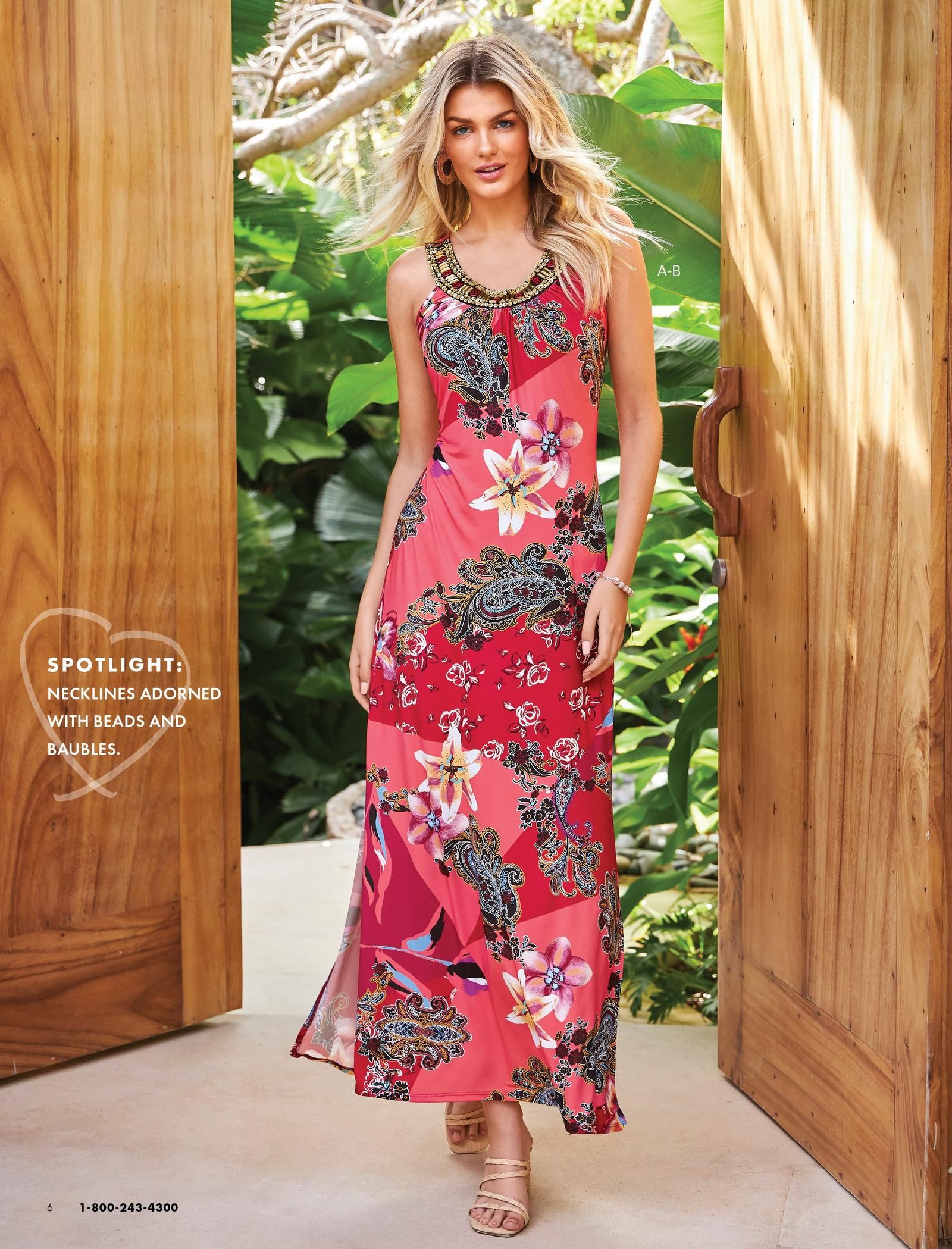 model wearing a pink floral embellished high-neck maxi dress and raffia strappy heels.