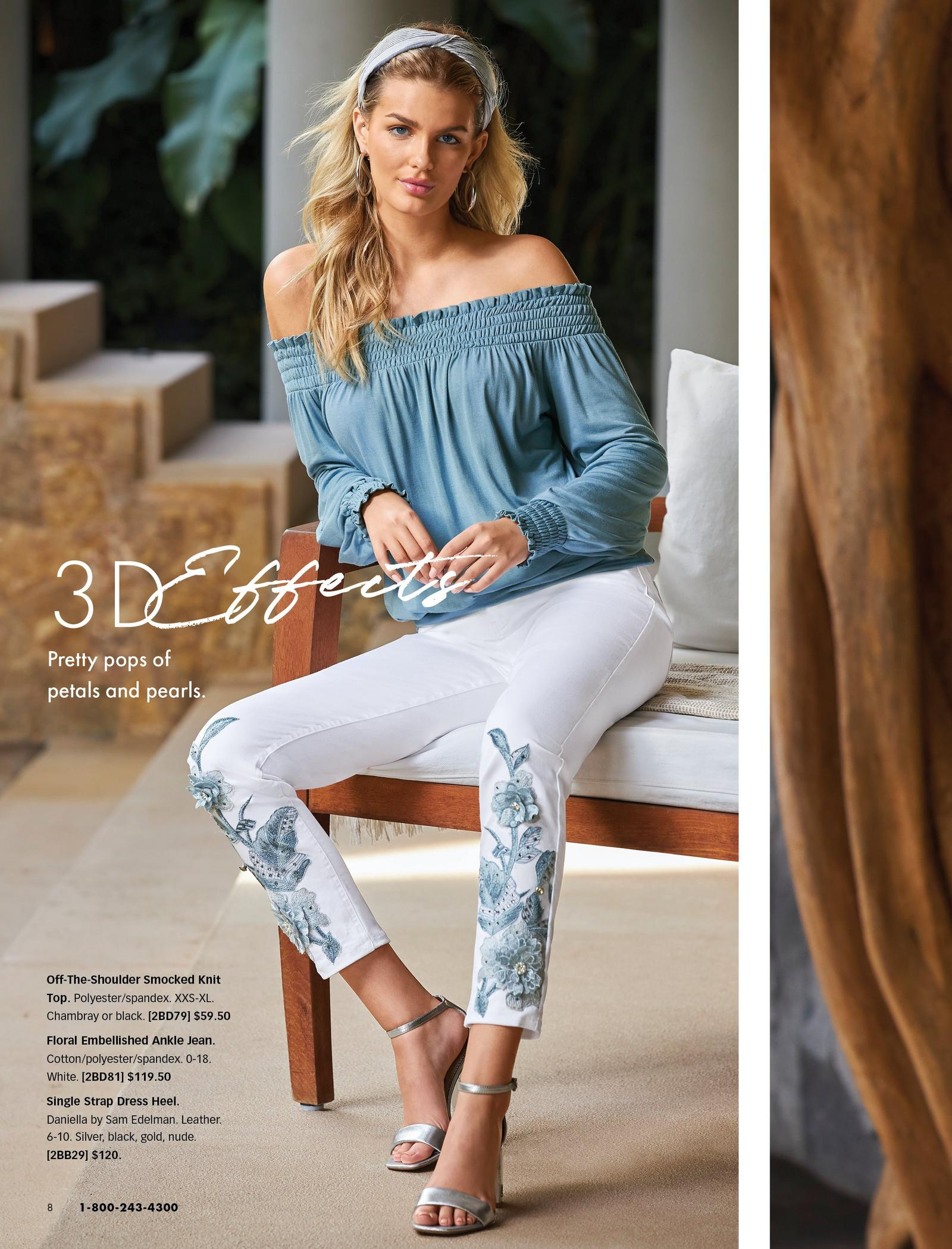 model wearing an off-the-shoulder chambray smocked long-sleeve top, white jeans with blue floral embellishments, silver single strap heels, and silver hoop earrings.