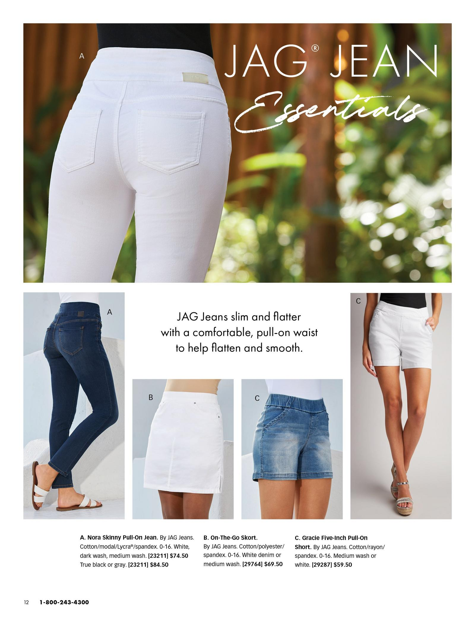 top model wearing white jeans. bottom from left to right: dark wash jeans and white double strap sandals, white skort, blue shorts, and white shorts.