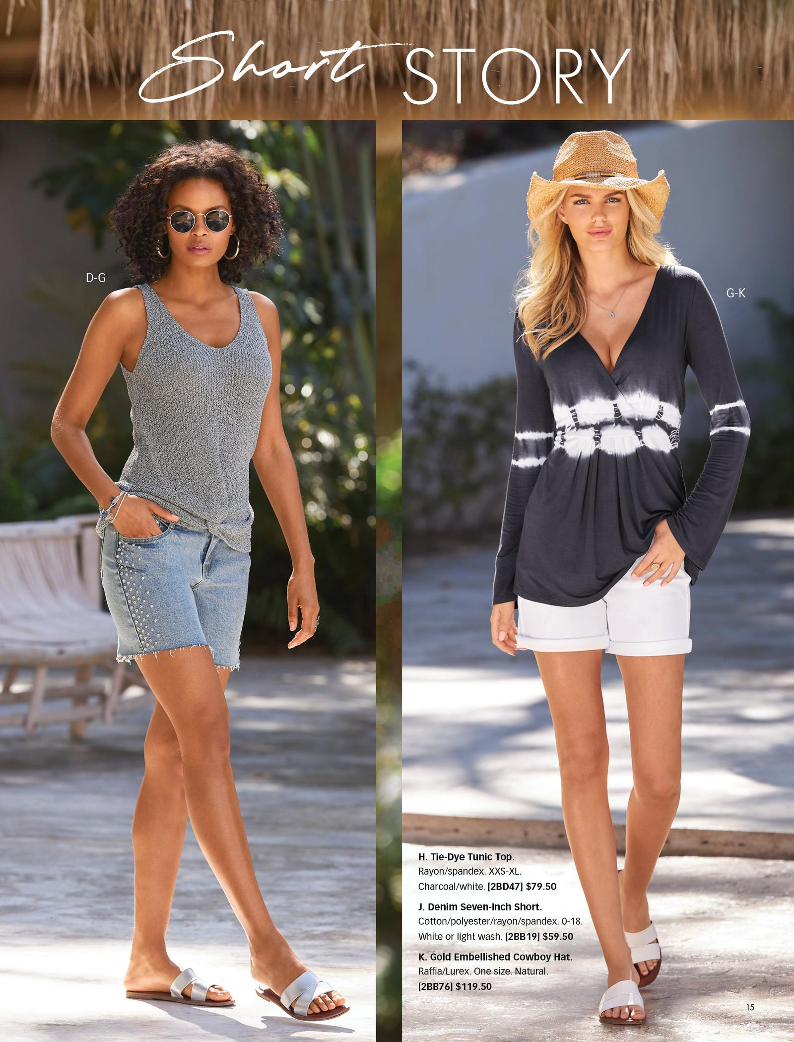 eft model wearing a gray sleeveless knotted sweater, embellished denim shorts, silver double-strap sandals, gold hoop earrings, and sunglasses. right model wearing a gray and white tie-dye long-sleeve tunic top, white denim shorts, white double strap sandals, and gold embellished straw hat.