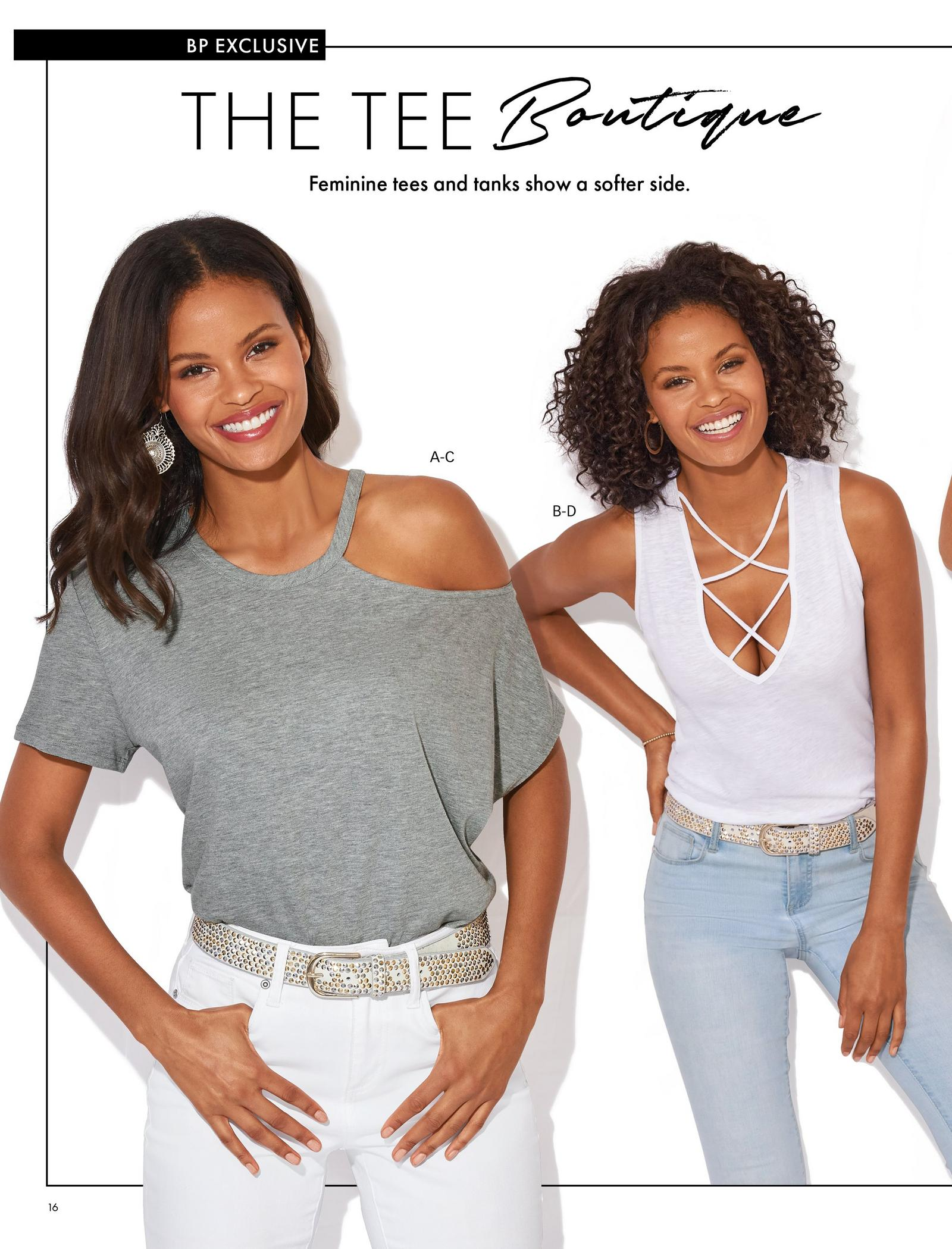 left model wearing a gray off-the-shoulder slub tee, white and gold studded belt, and white jeans. right model wearing a white x-neck slub tank top, white and gold studded belt, and light wash jeans.