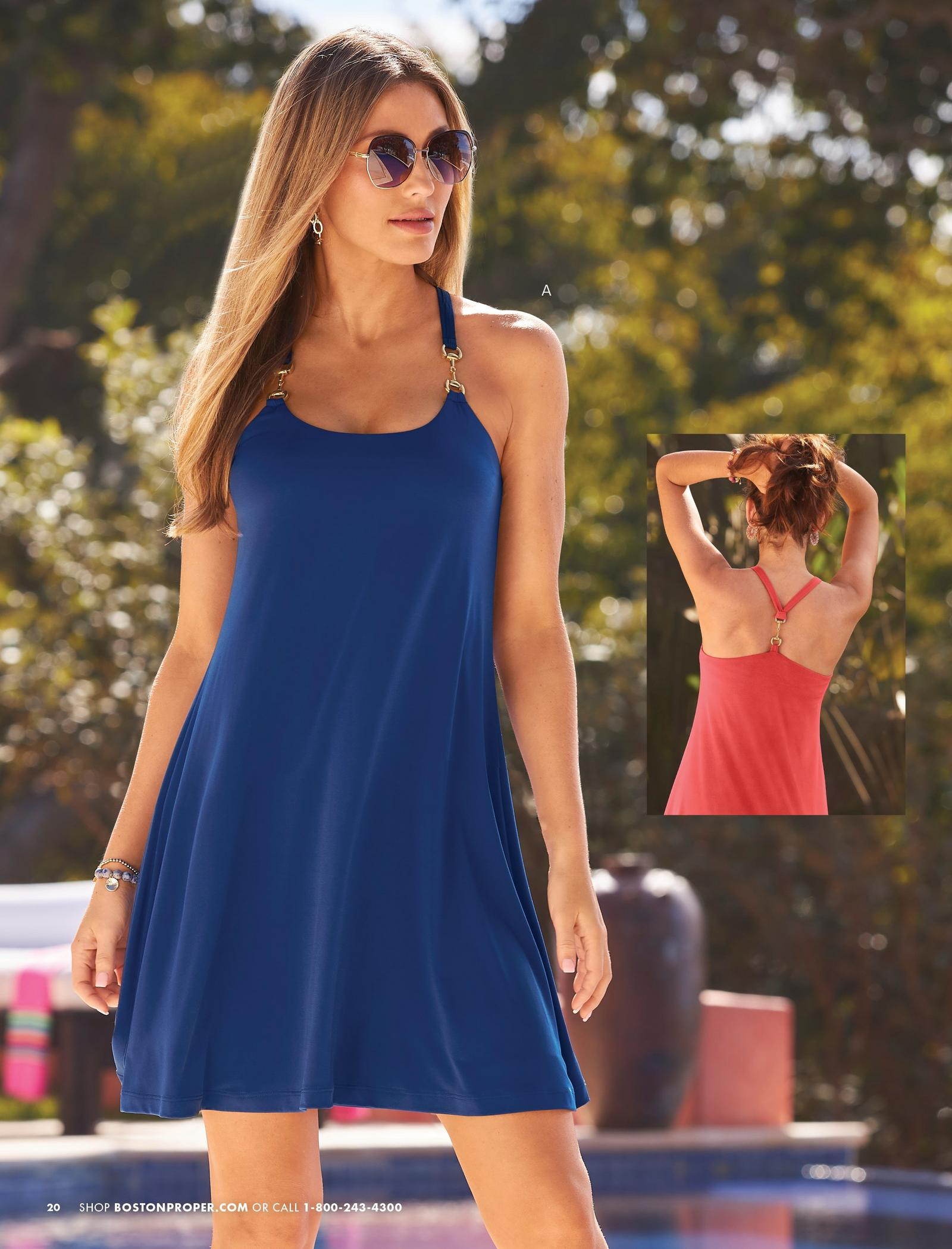 left model wearing a navy blue hardware detail halter neck dress and sunglasses. also shown in coral.