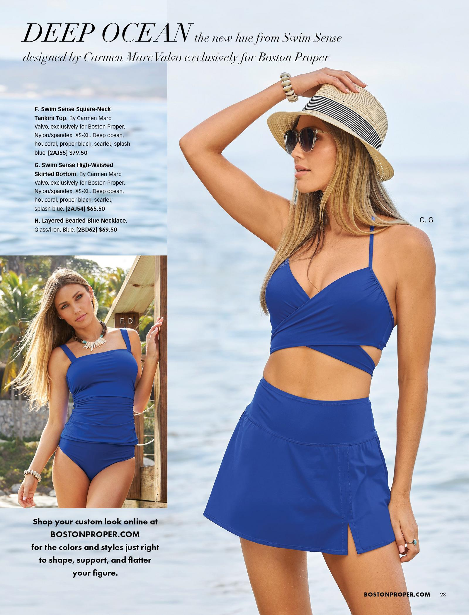 left model wearing a deep ocean blue tankini set. right model wearing a deep ocean blue bikini top and skirted bottom set, straw hat, and sunglasses.