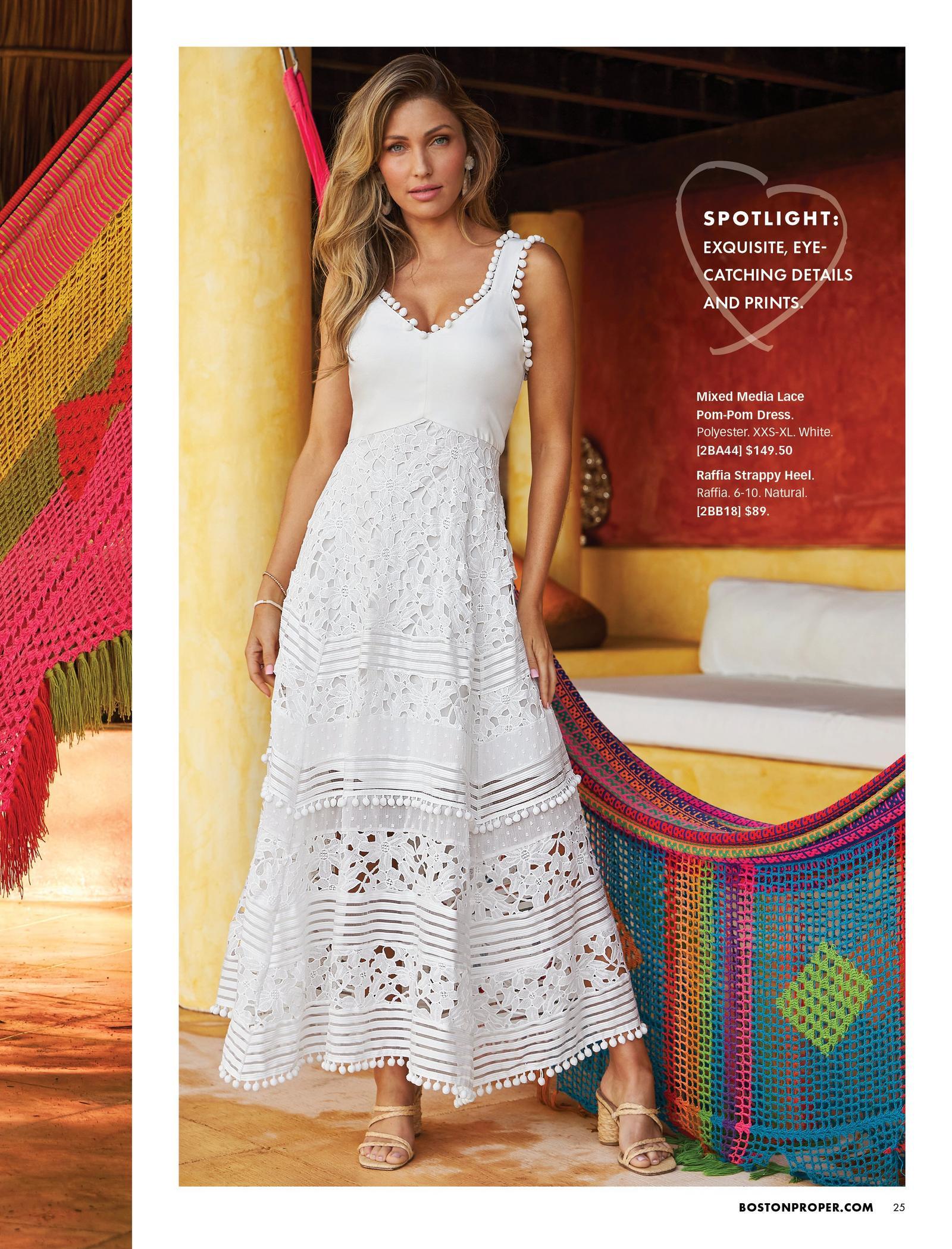model wearing a white mixed media sleeveless maxi dress and raffia strappy heels.