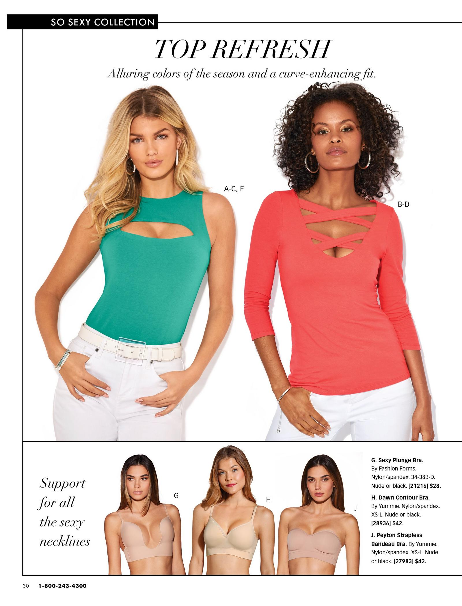 left model wearing a green cutout sleeveless top, white belt, and white jeans. right model wearing a coral cutout three-quarter sleeve top and white jeans. bottom models wearing three styles of a nude bra.
