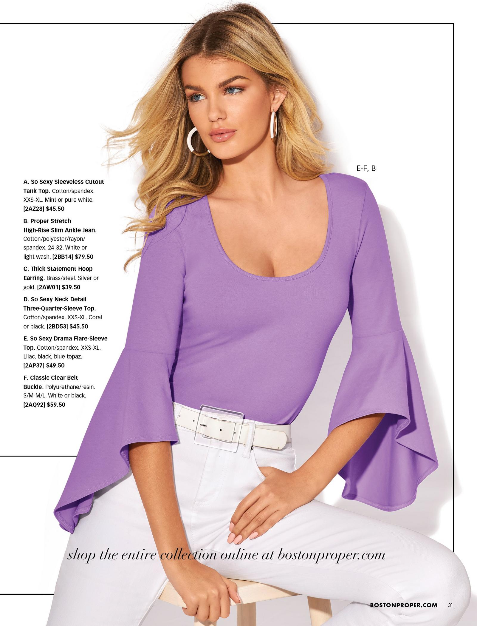 model wearing a lilac drama-sleeve scoop neck top, white belt, silver hoop earrings, and white jeans.