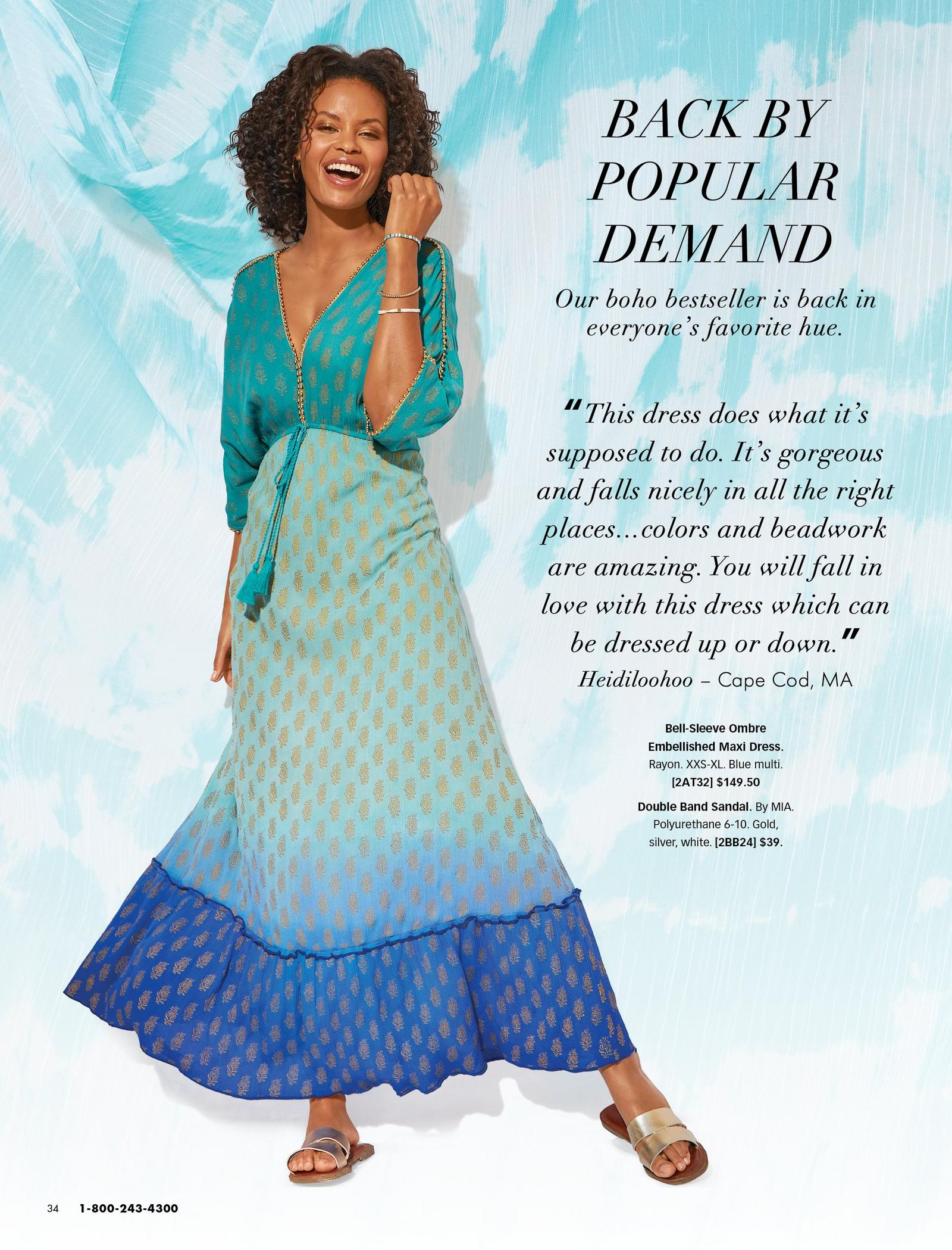 model wearing a blue ombre bell-sleeve boho embellished maxi dress and metallic double-strap sandals.